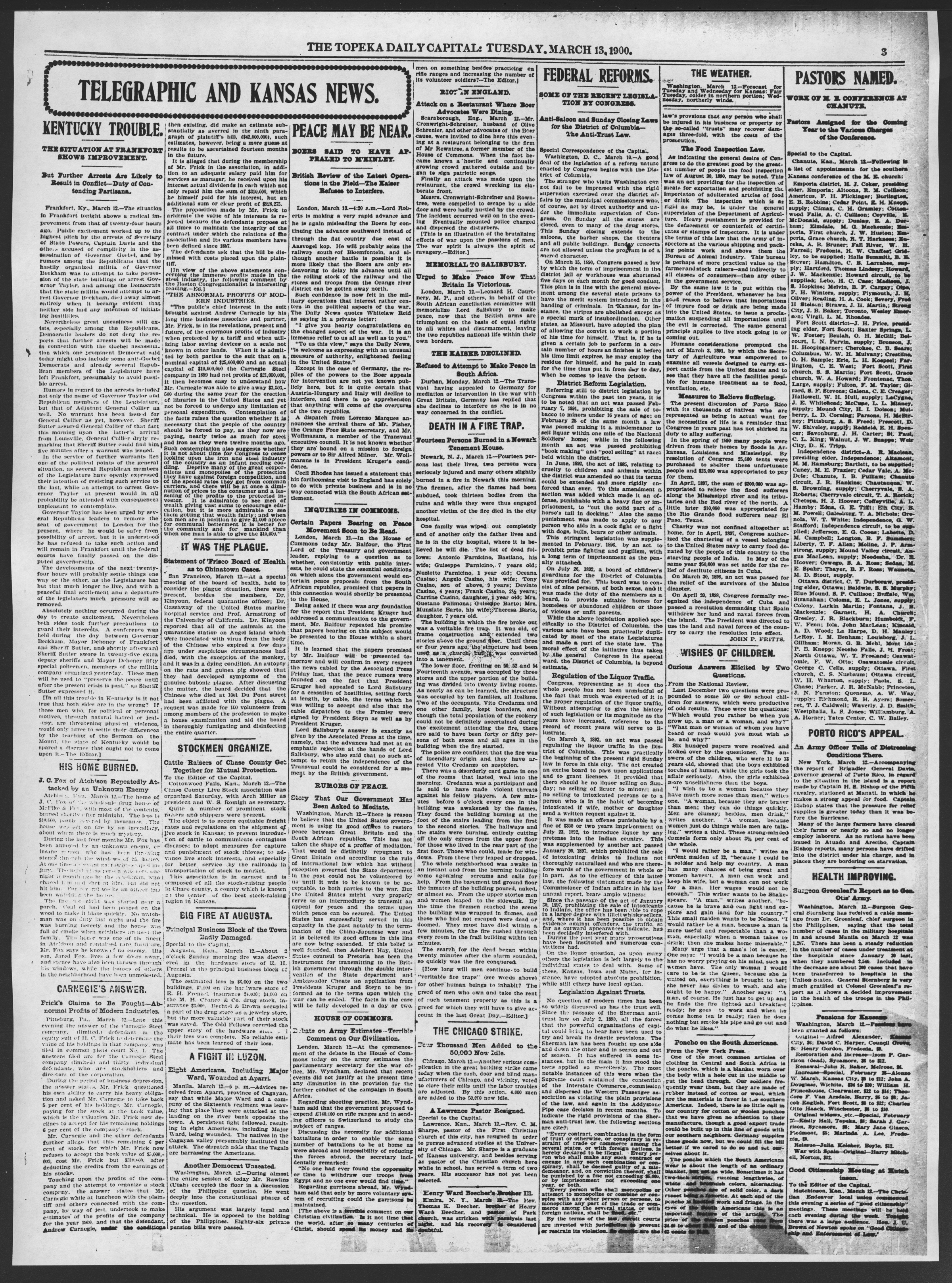 The Topeka daily capital. Sheldon edition - 3, Tuesday, March 13, 1900