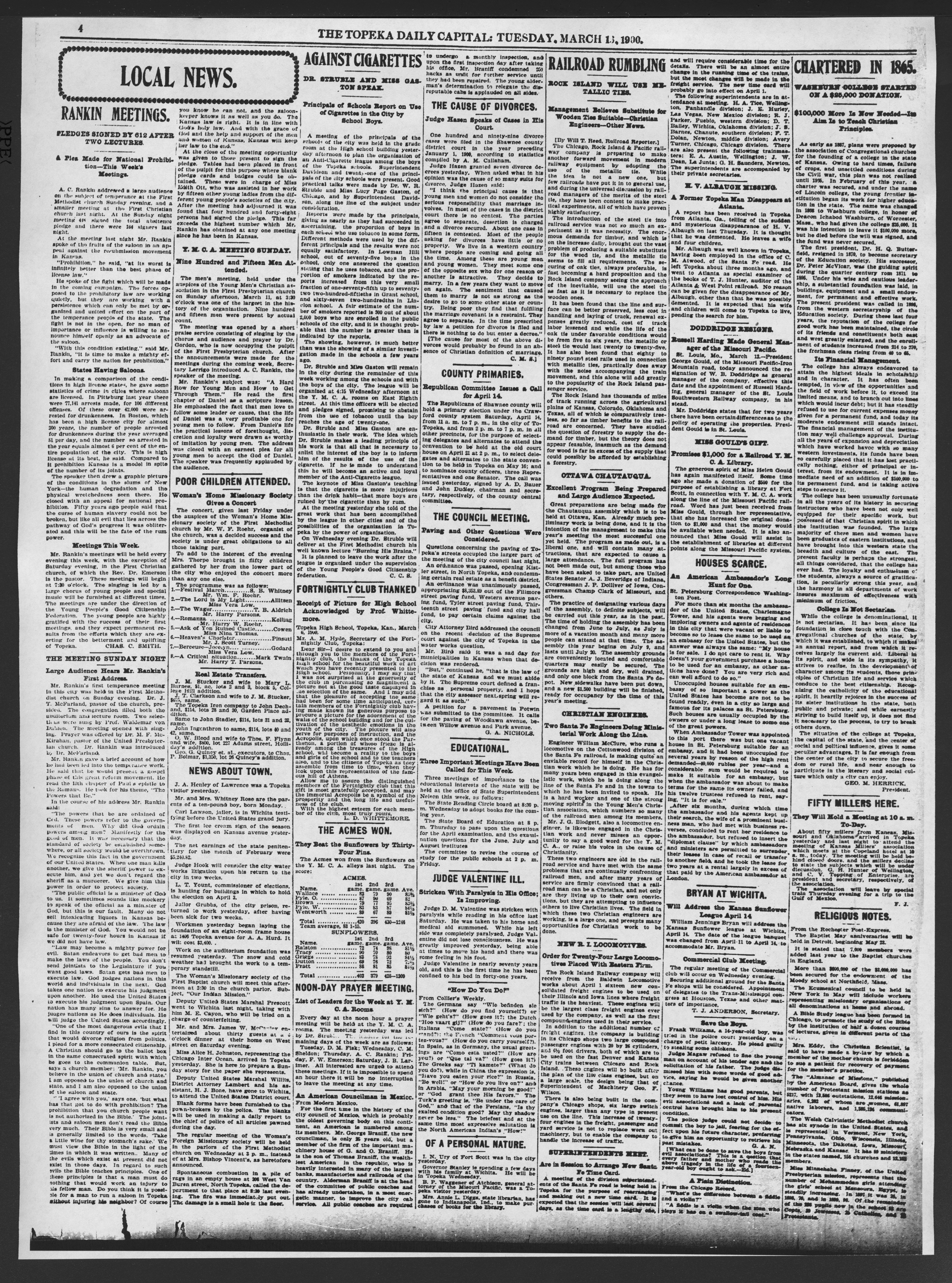 The Topeka daily capital. Sheldon edition - 4, Tuesday, March 13, 1900