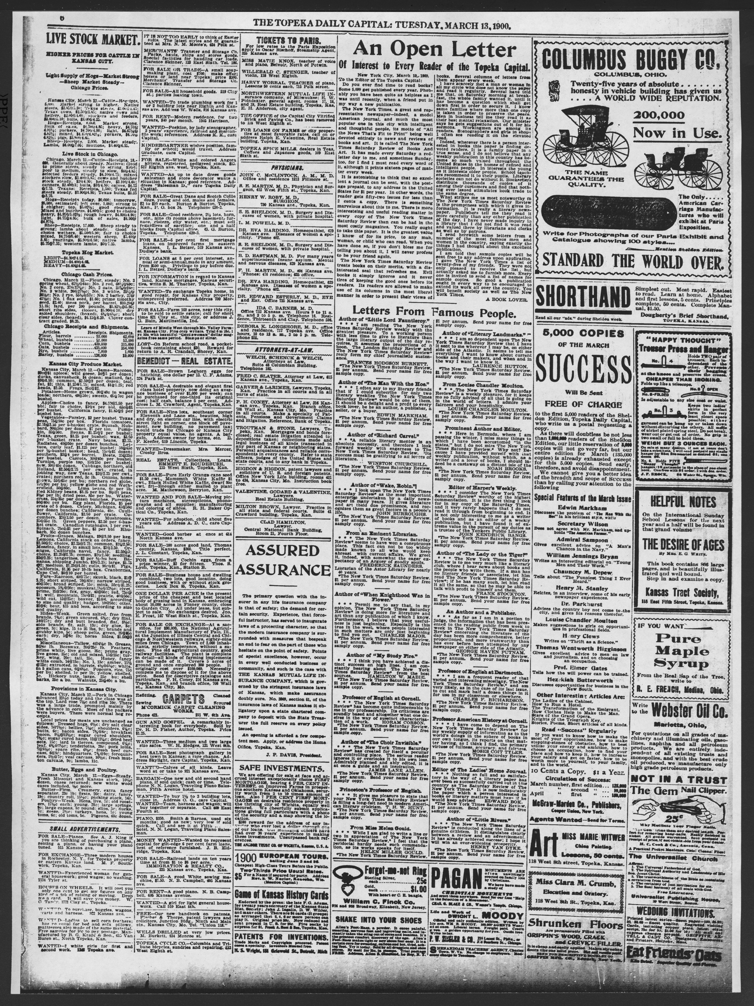 The Topeka daily capital. Sheldon edition - 6, Tuesday, March 13, 1900