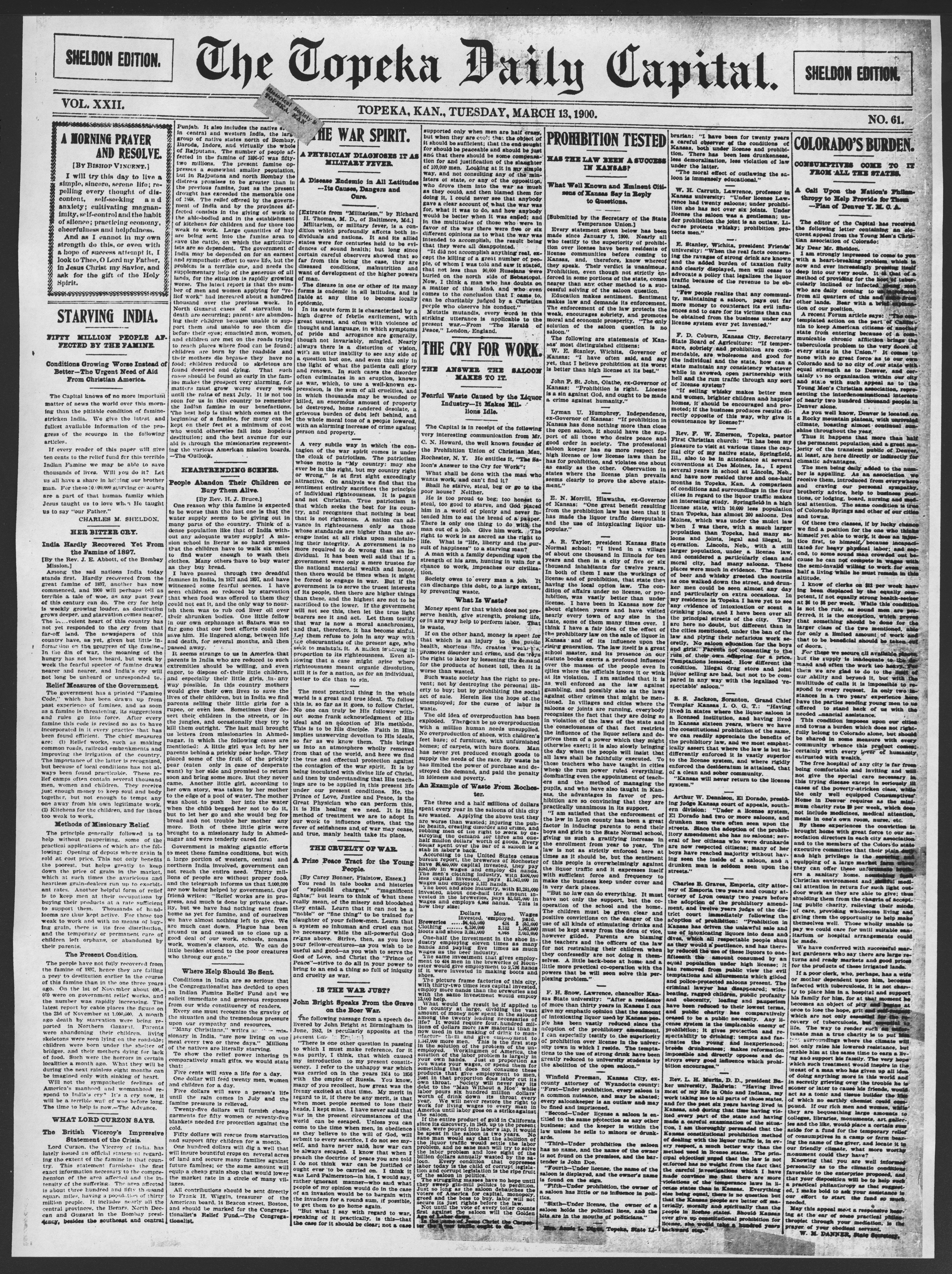 The Topeka daily capital. Sheldon edition - 1, Tuesday, March 13, 1900