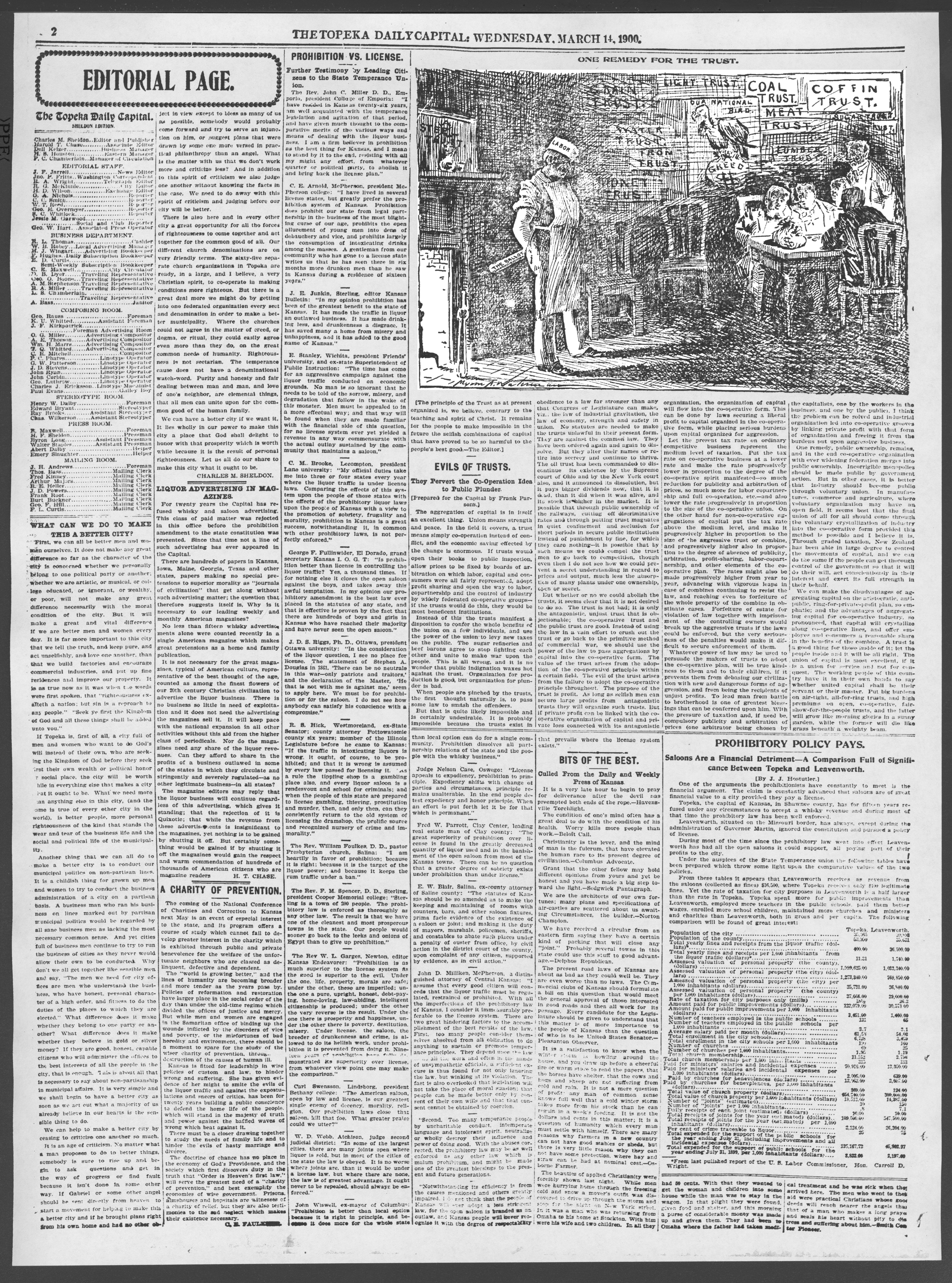 The Topeka daily capital. Sheldon edition - 2, Wednesday, March 14, 1900
