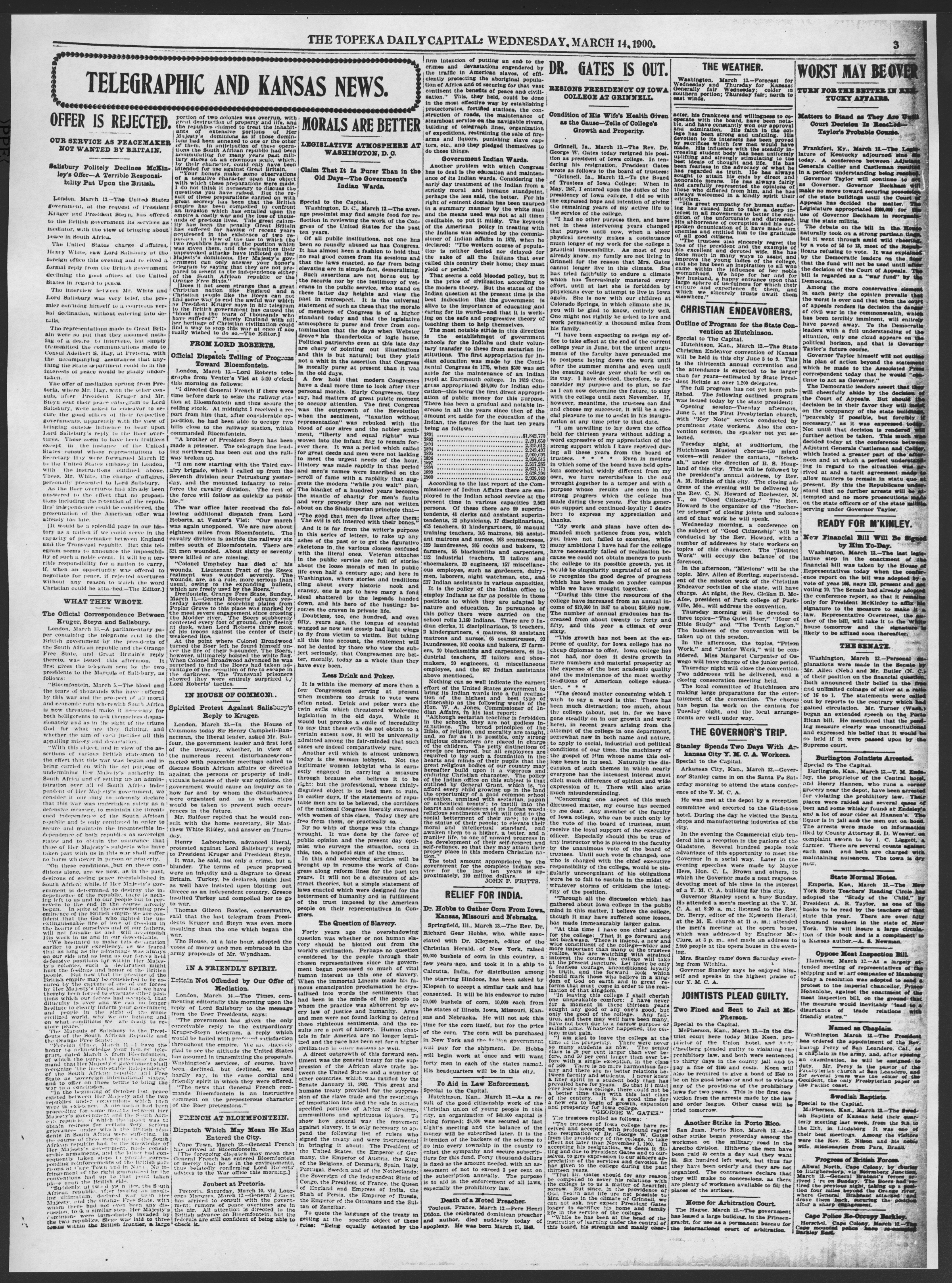 The Topeka daily capital. Sheldon edition - 3, Wednesday, March 14, 1900