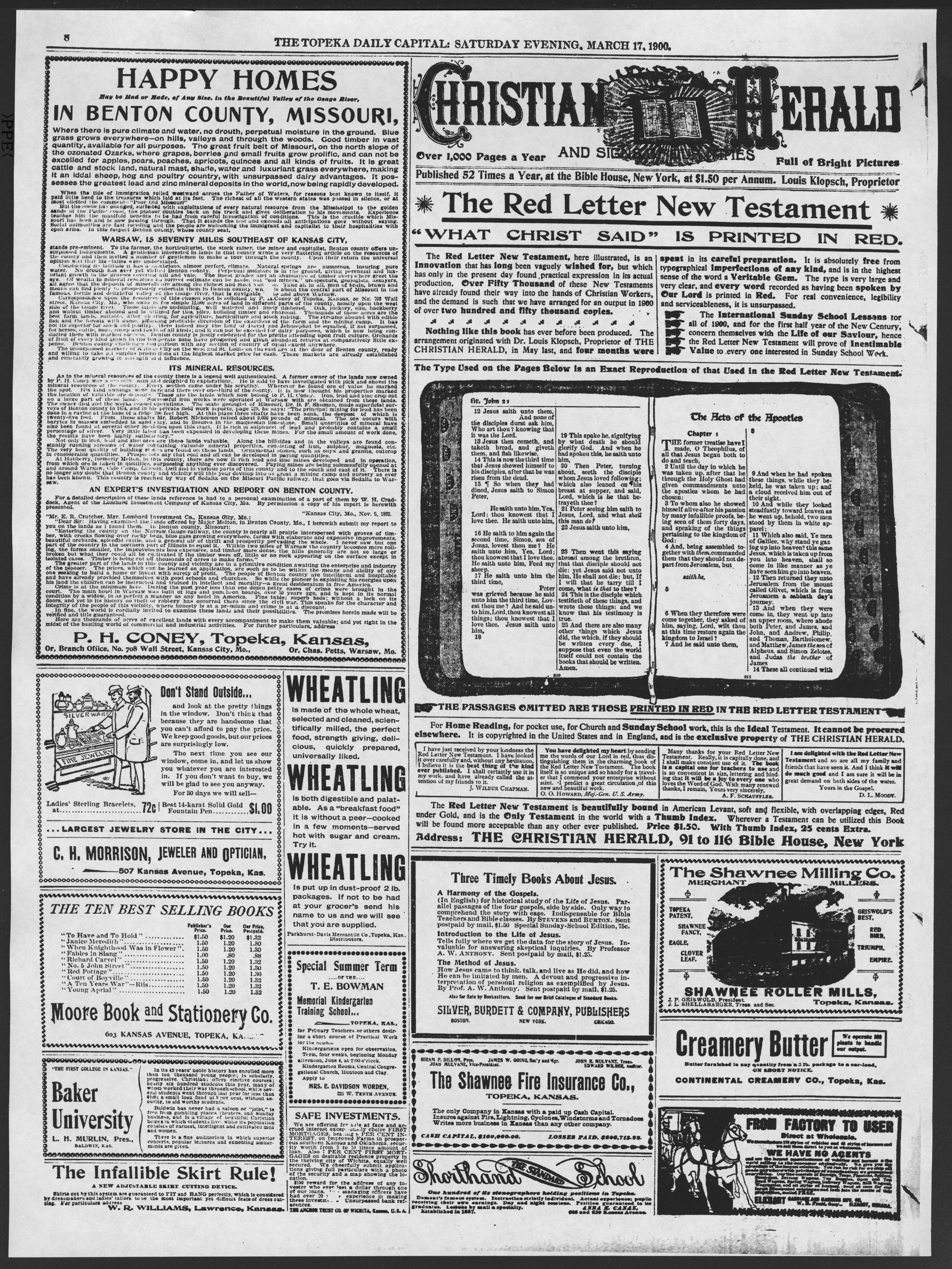 The Topeka daily capital. Sheldon edition - 8, Saturday Evening, March 17, 1900.