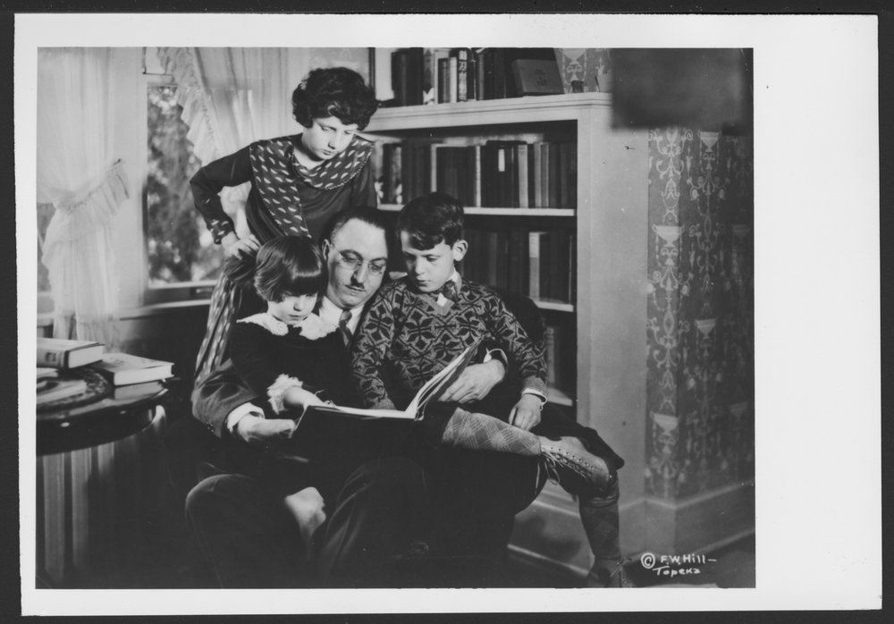 Karl A. Menninger, M.D. - Karl Menninger with Julia (standing), Martha, and Robert during the 1930's in their home.