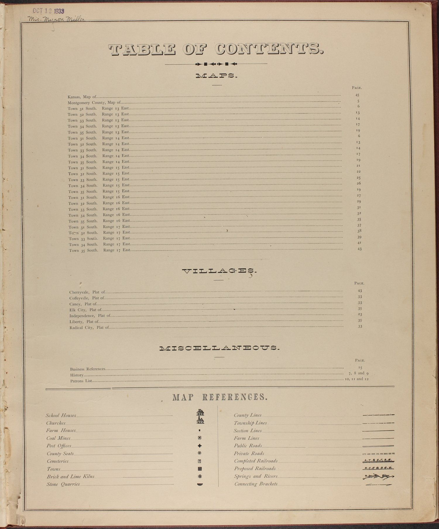 Historical atlas of Montgomery County, Kansas - Table of Contents