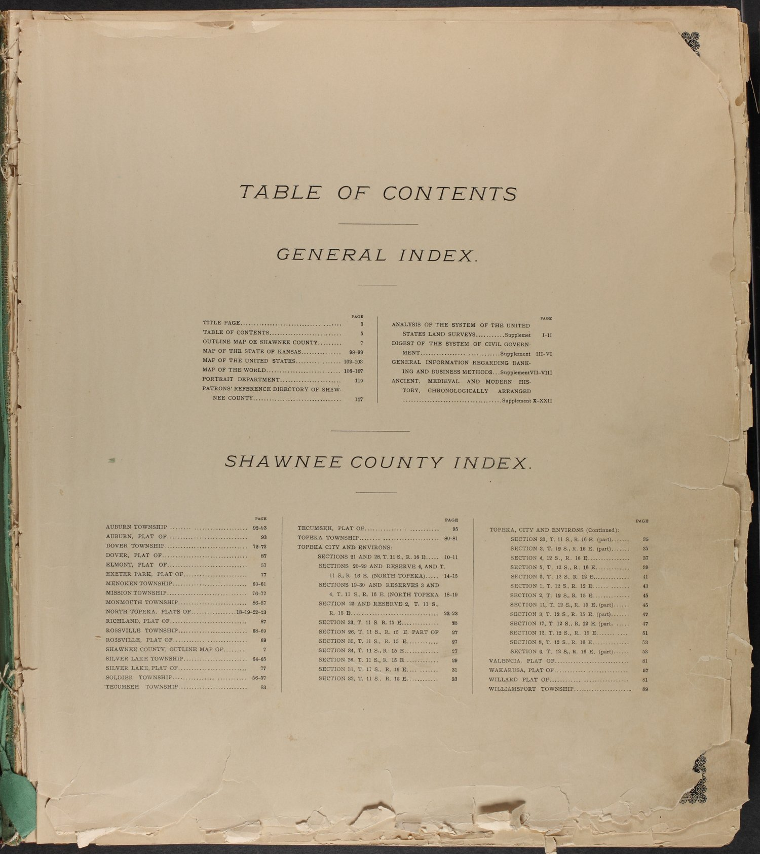 Standard atlas of Shawnee County, Kansas - Table of Contents