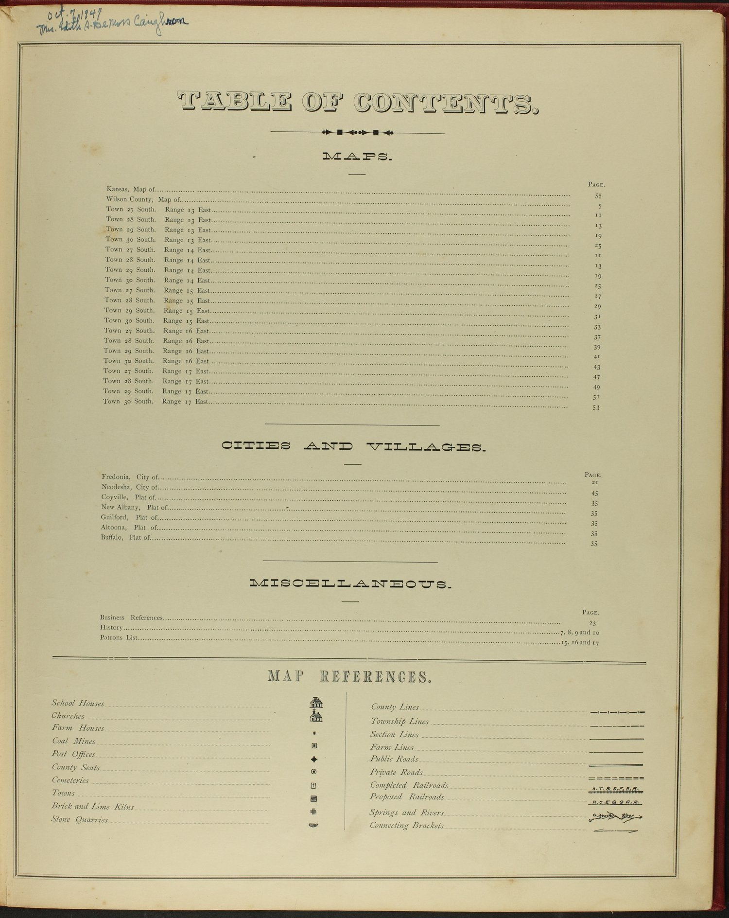 Historical atlas of Wilson County, Kansas - Table of Contents