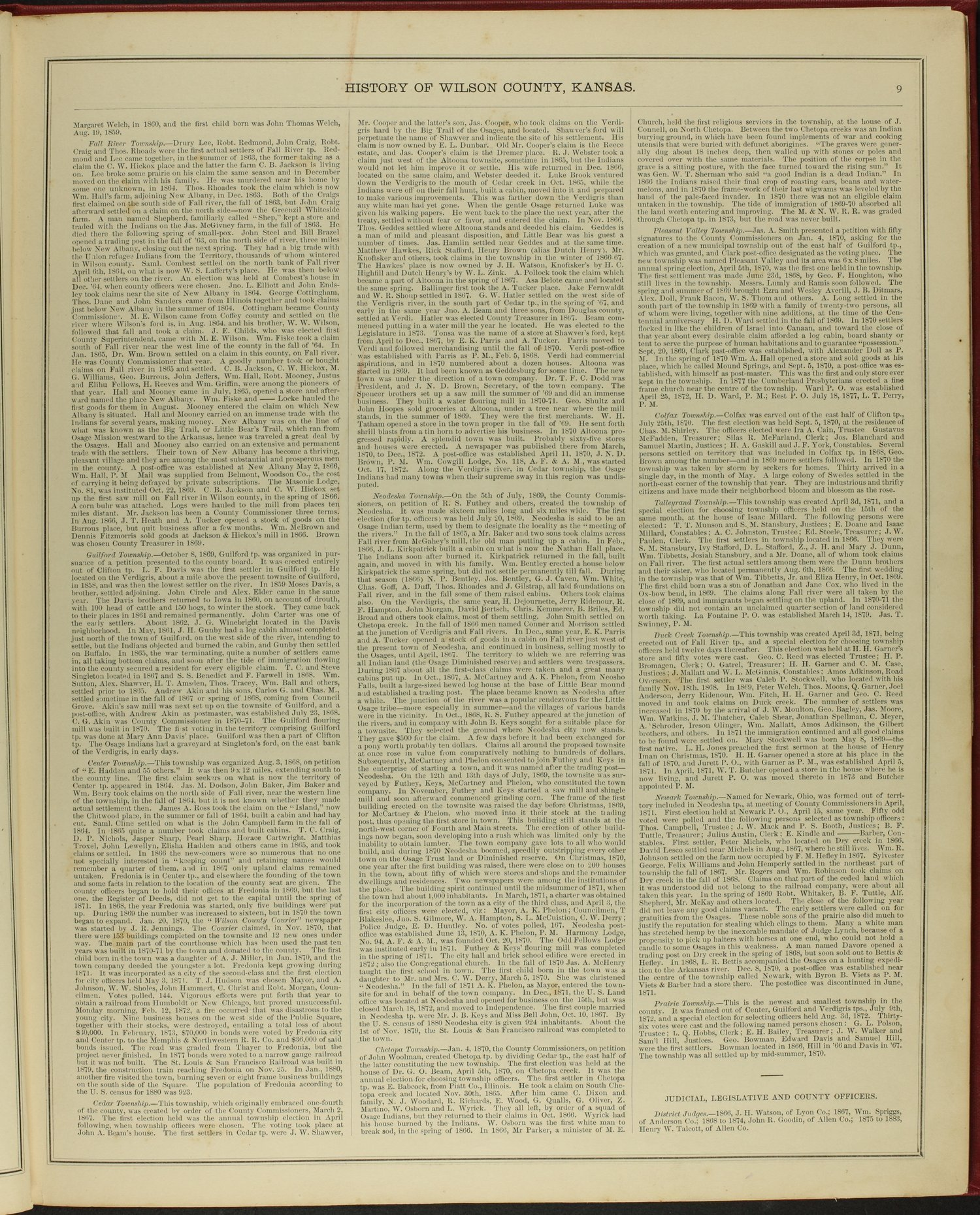 Historical atlas of Wilson County, Kansas - 9