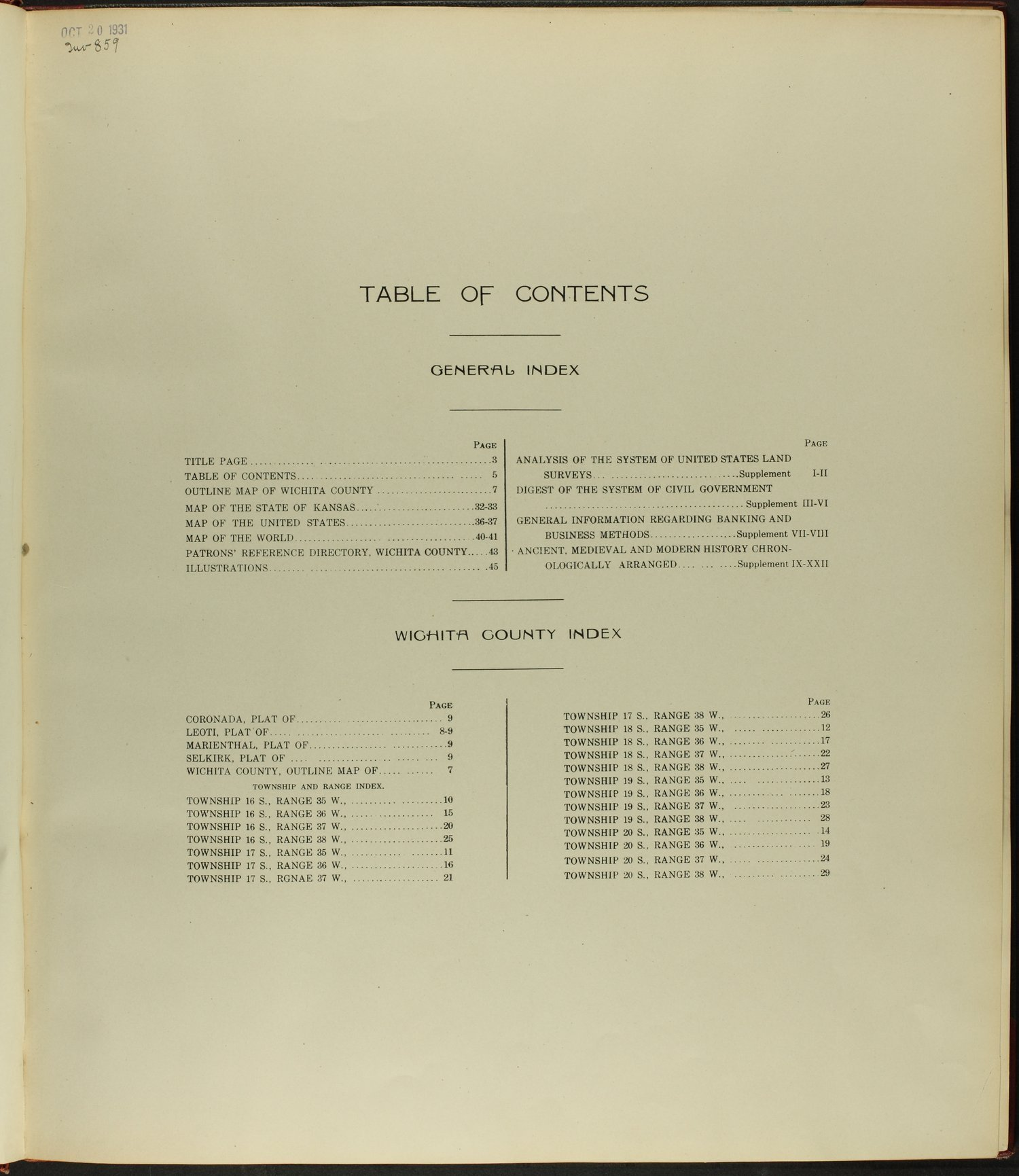 Standard atlas of Wichita County, Kansas - Table of Contents
