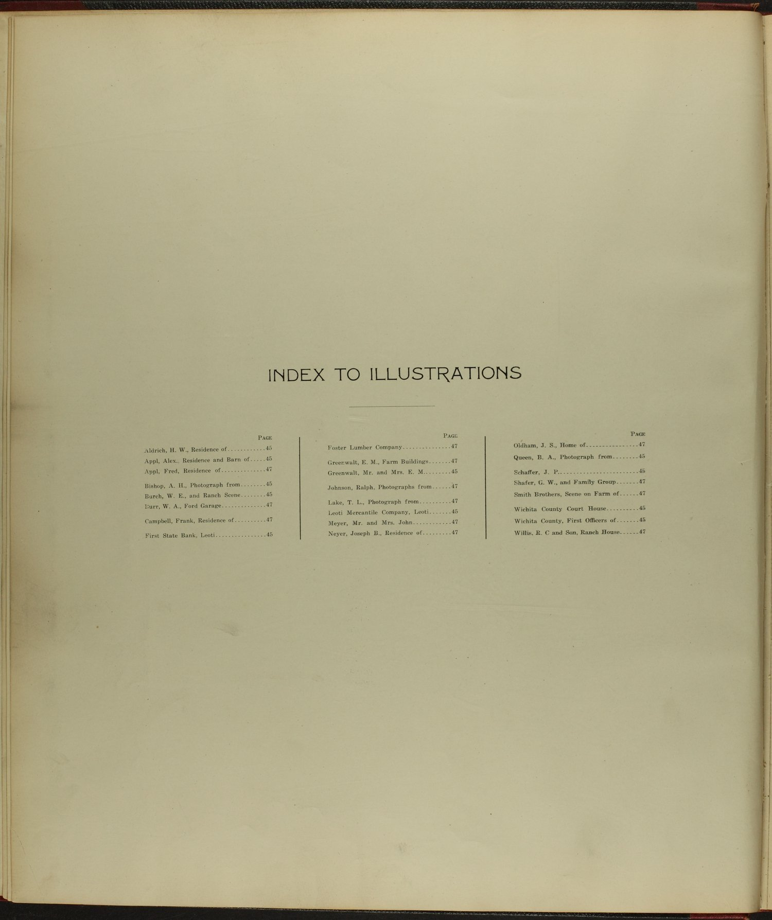 Standard atlas of Wichita County, Kansas - Index to Illustrations