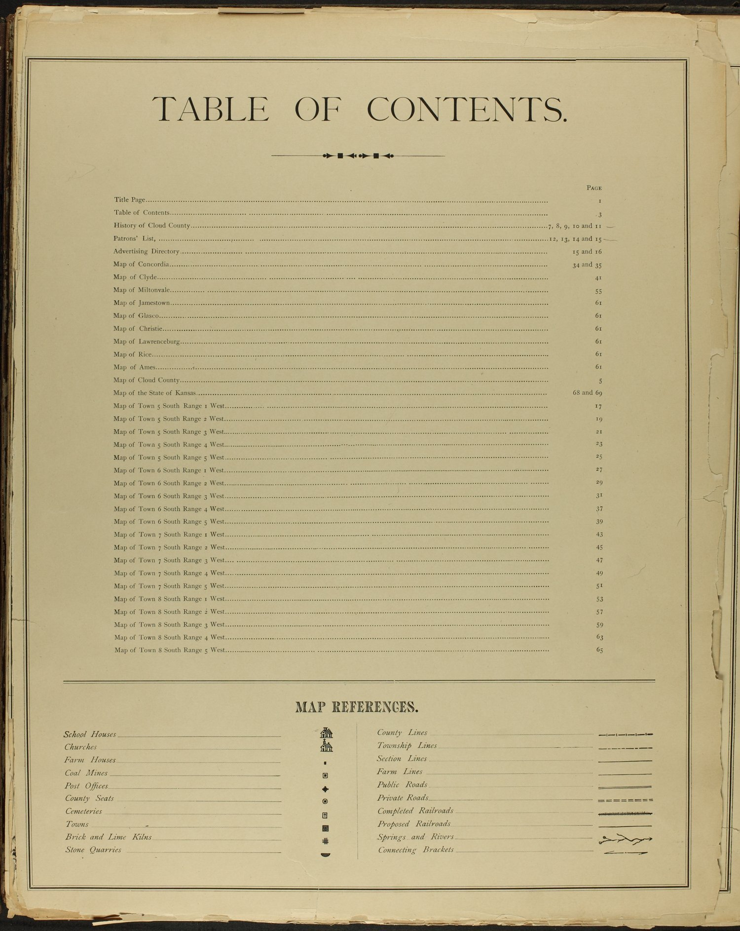 Edward's atlas of Cloud County, Kansas - Table of Contents