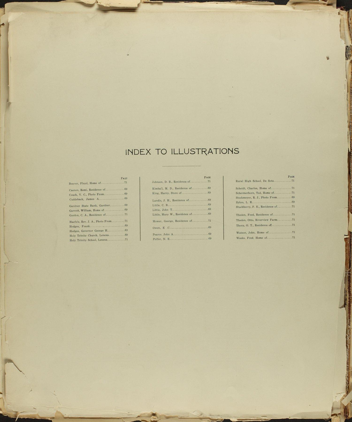 Standard atlas of Johnson County, Kansas - Index to Illustrations
