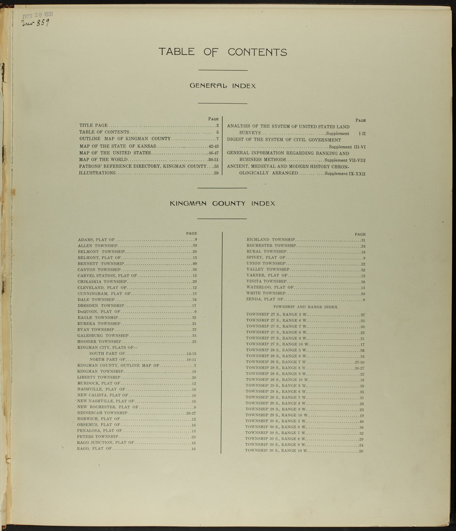 Standard atlas of Kingman County, Kansas - Table of Contents