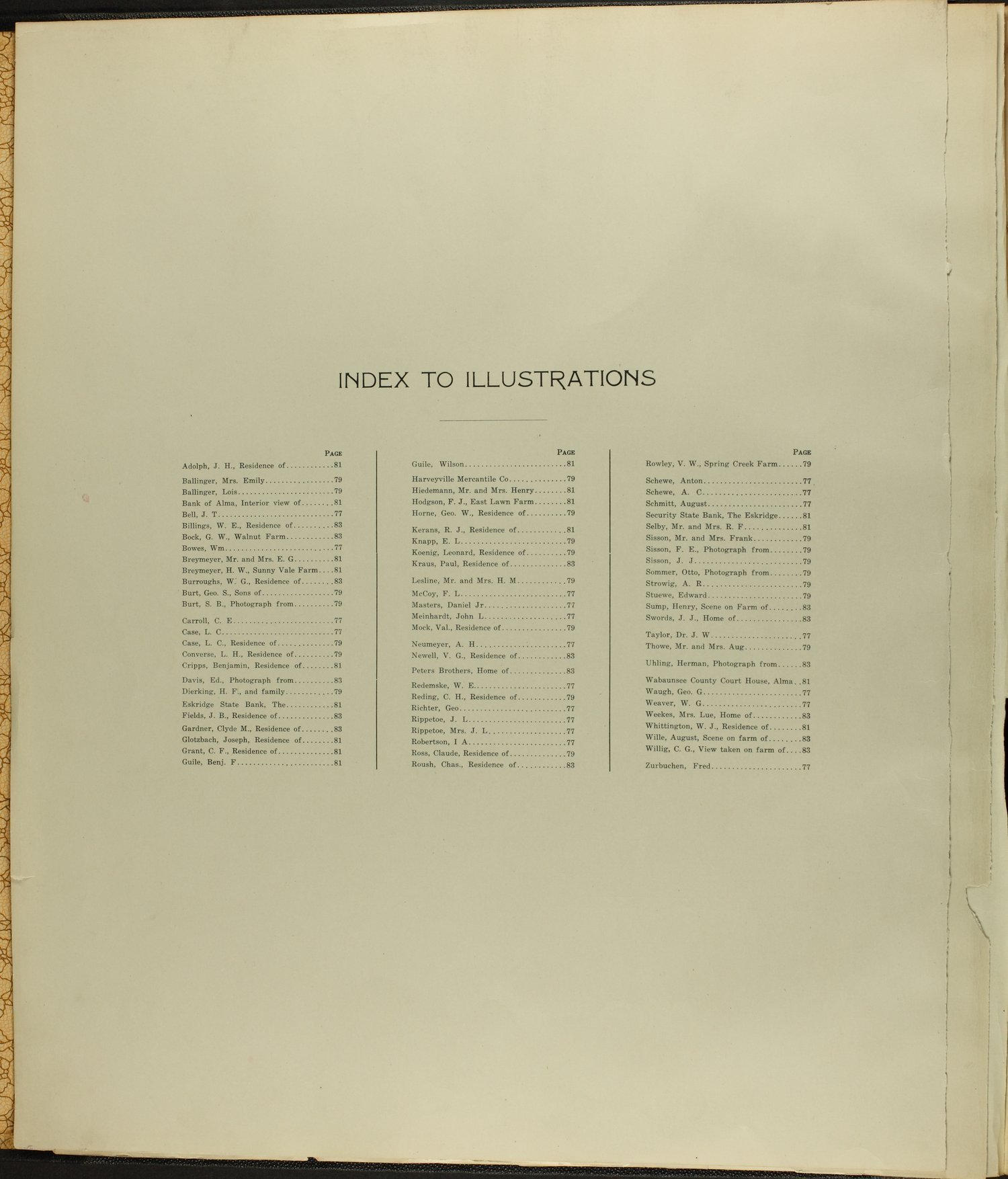 Standard atlas of Wabaunsee County, Kansas - Index to Illustrations