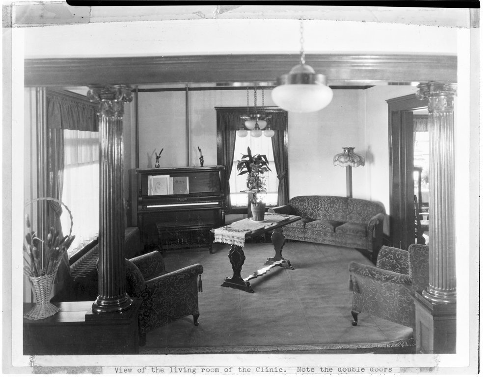 Interior views of the early Menninger Sanitarium in  Topeka, Kansas - A view of the reception area in 1928 or 1929.