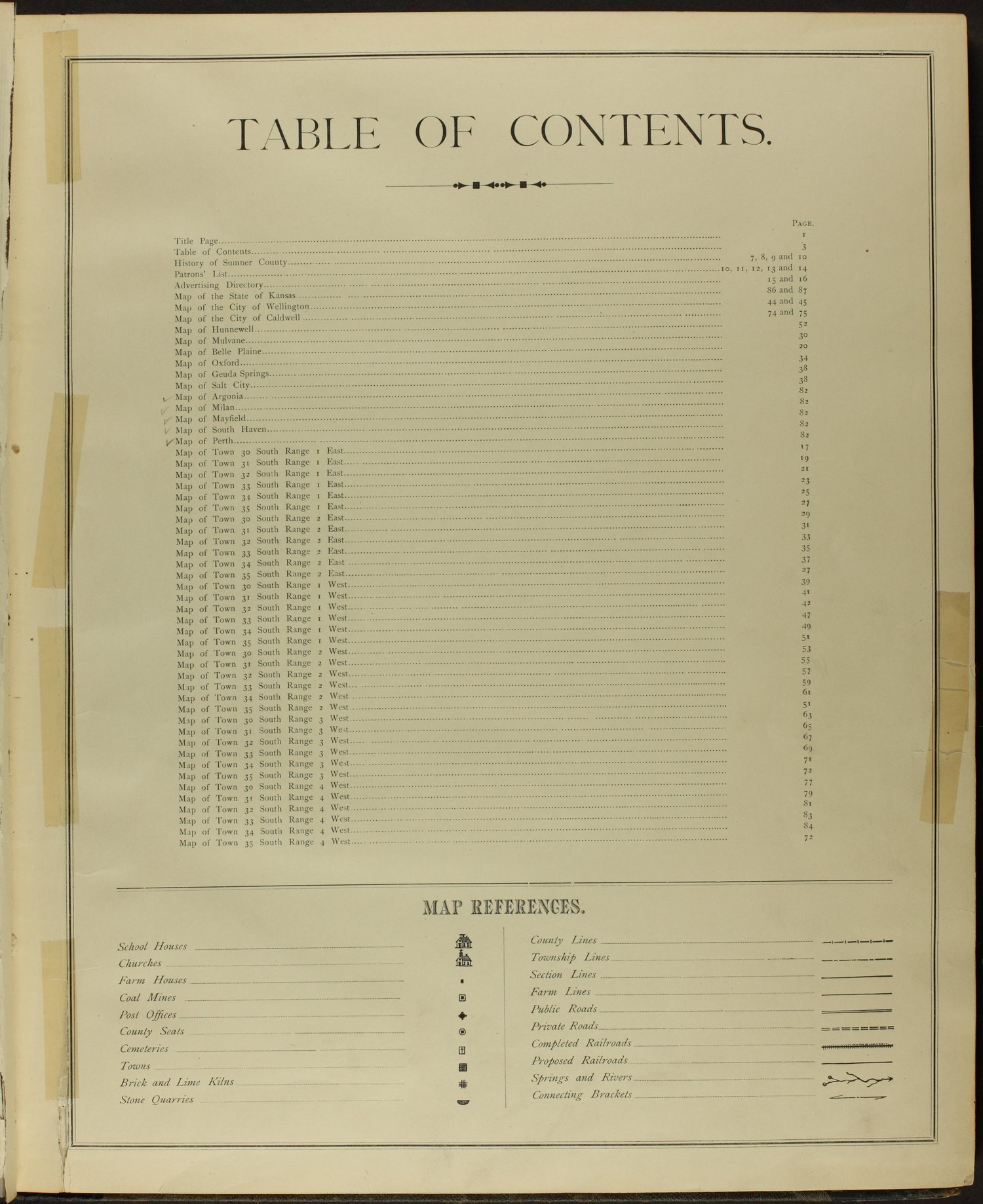 Historical atlas of Sumner County, Kansas - Table of Contents