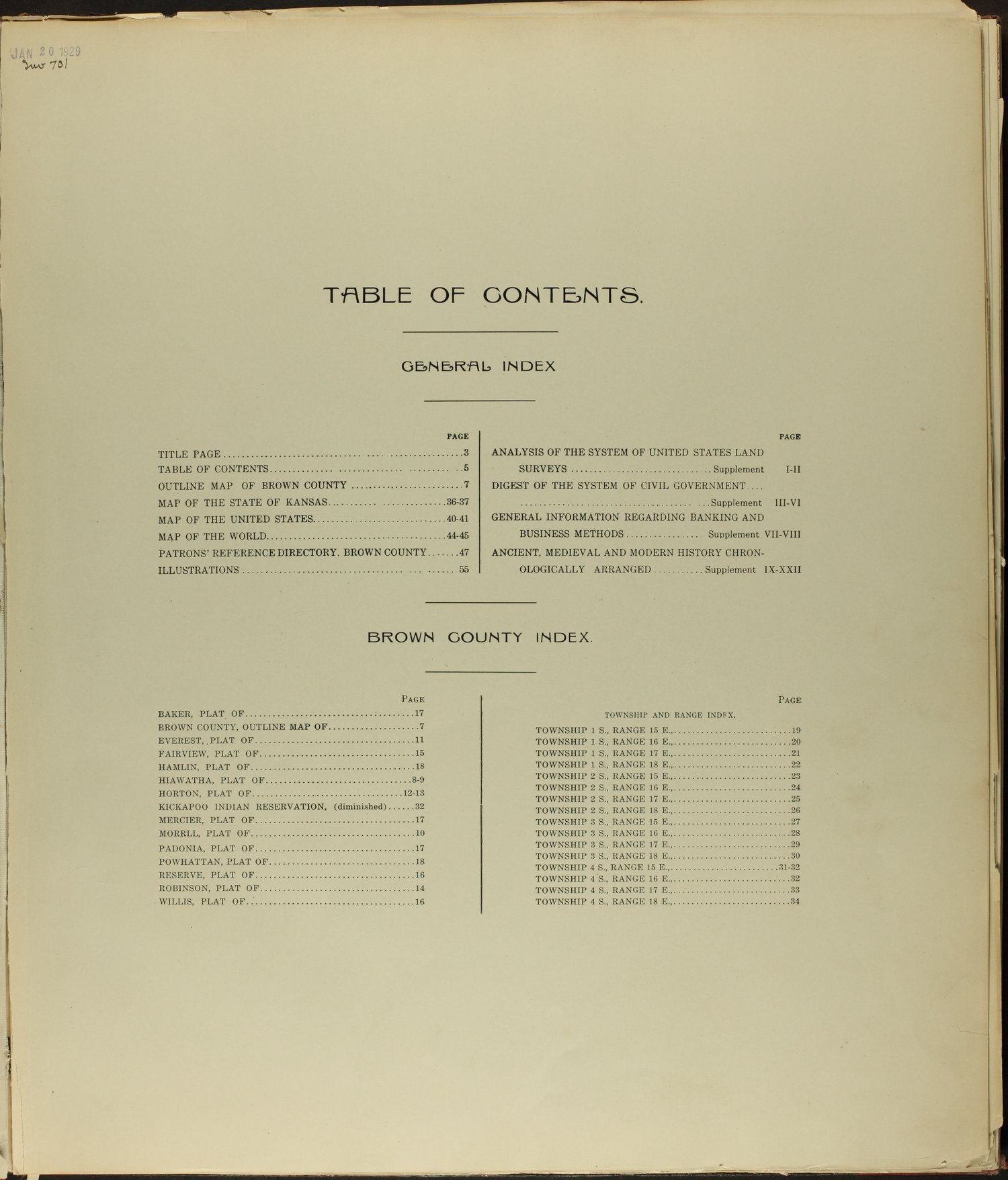 Standard atlas of Brown County, Kansas - Table of Contents