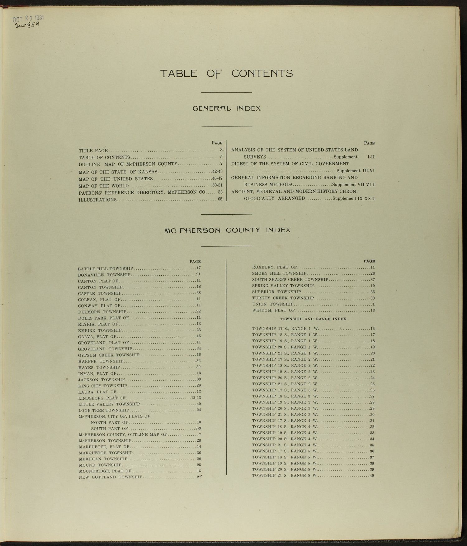 Standard atlas of McPherson County, Kansas - Table of Contents