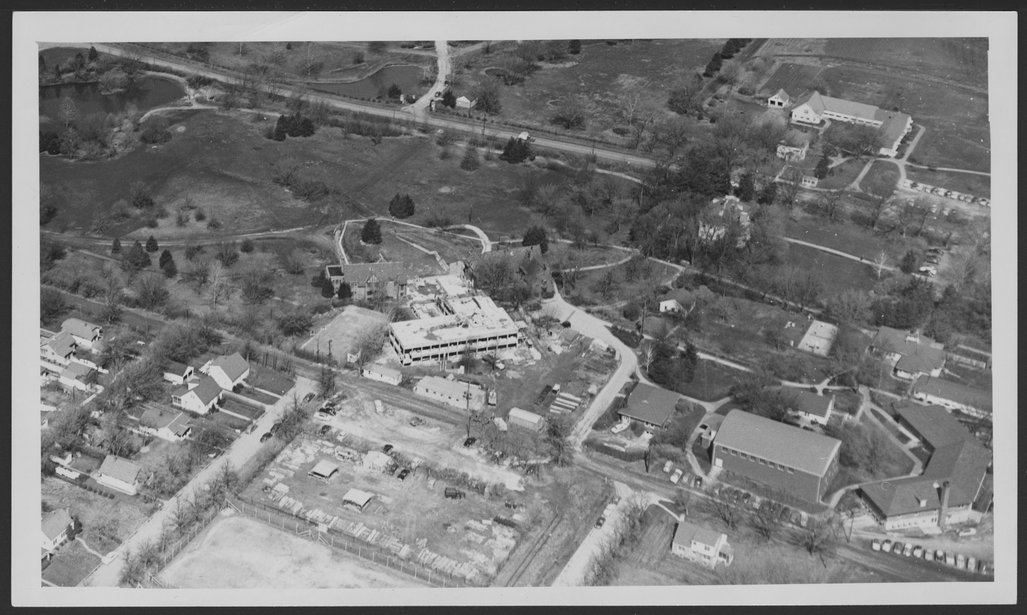 Aerial view of the Menninger Clinic in Topeka, Kansas, 1953