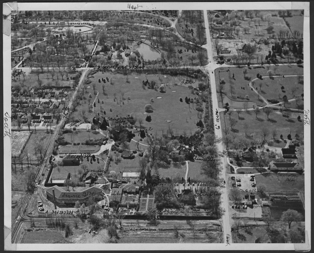 Aerial view of Menninger Sanitarium East Campus, Topeka, Kansas, 1946