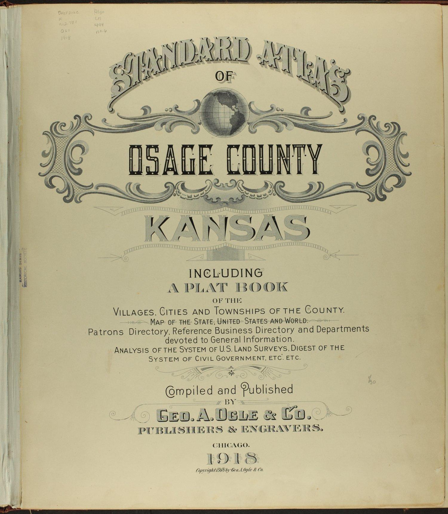 Standard atlas of Osage County, Kansas - Title Page