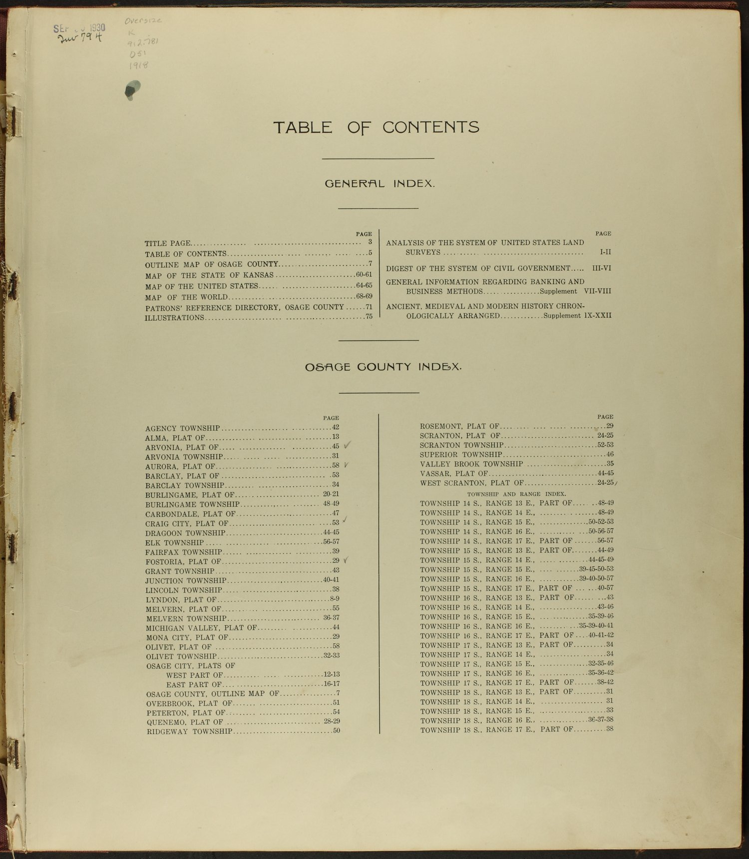 Standard atlas of Osage County, Kansas - Table of Contents