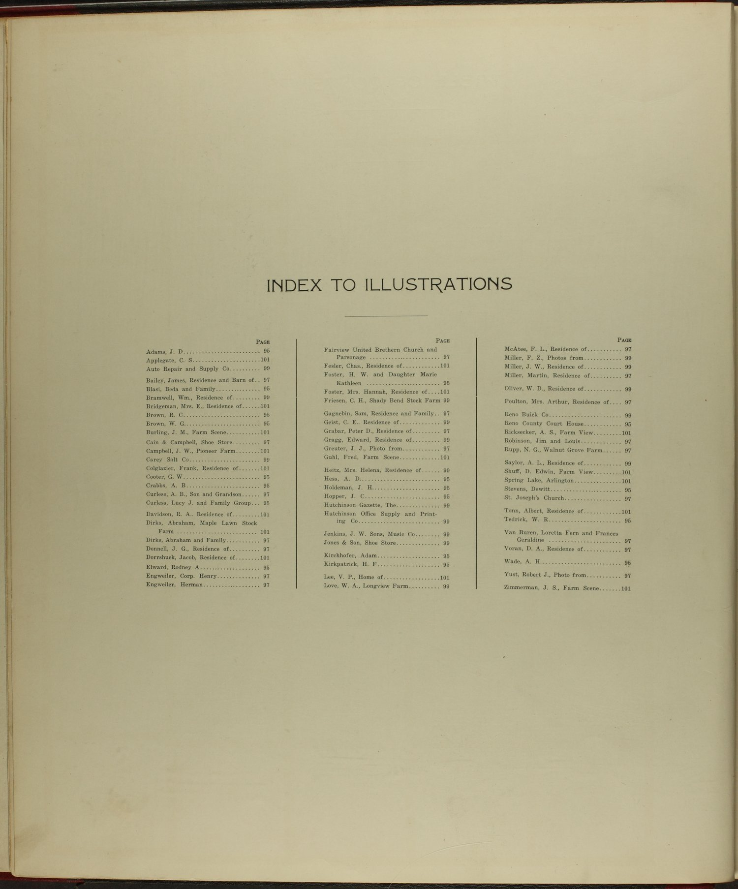 Standard atlas of Reno County, Kansas - Index to Illustrations
