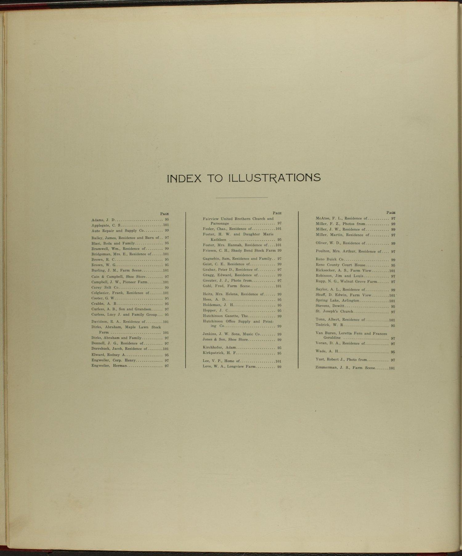 Standard atlas of Reno County, Kansas - Index to Illustrations