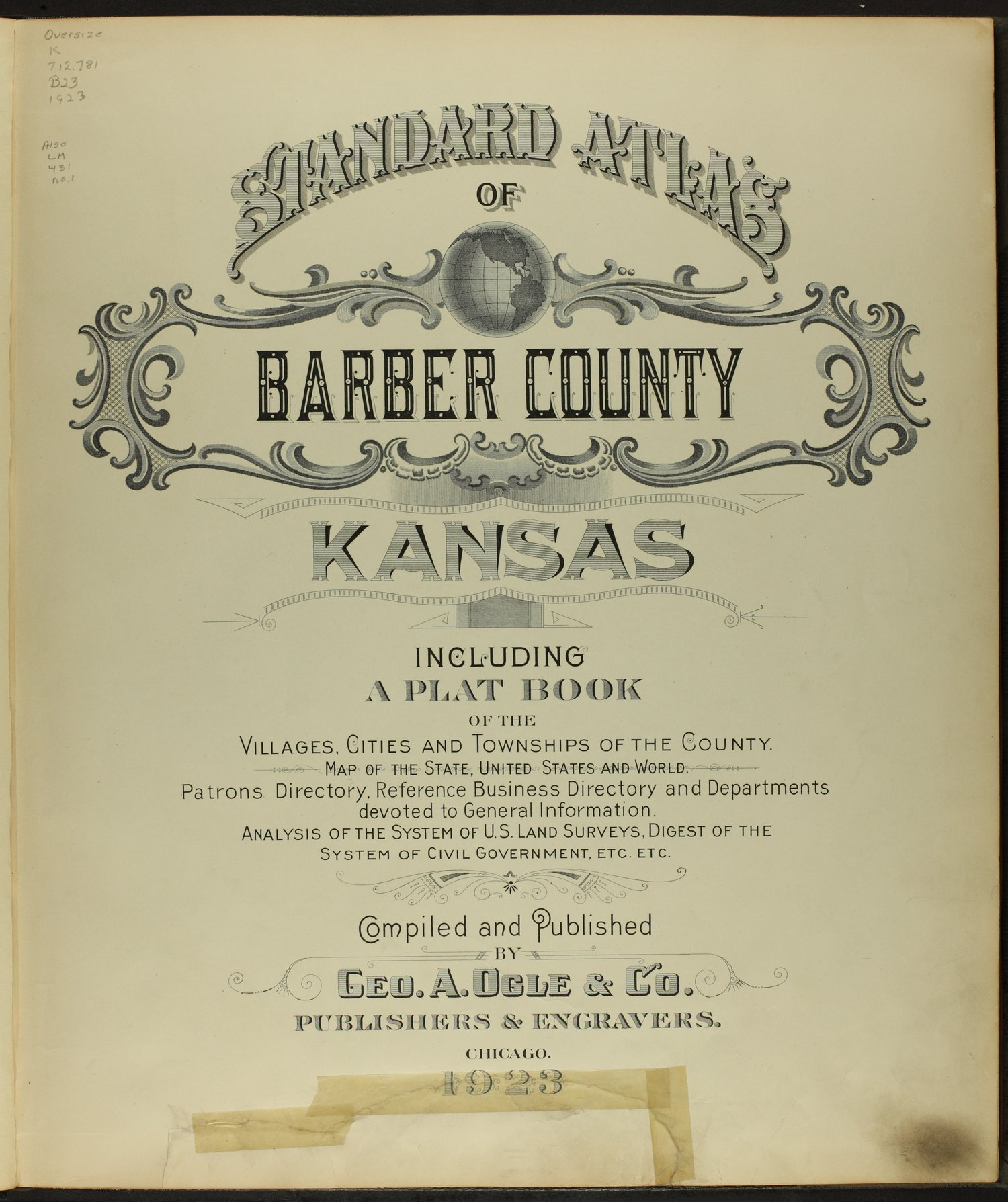 Standard atlas of Barber County, Kansas - Title Page