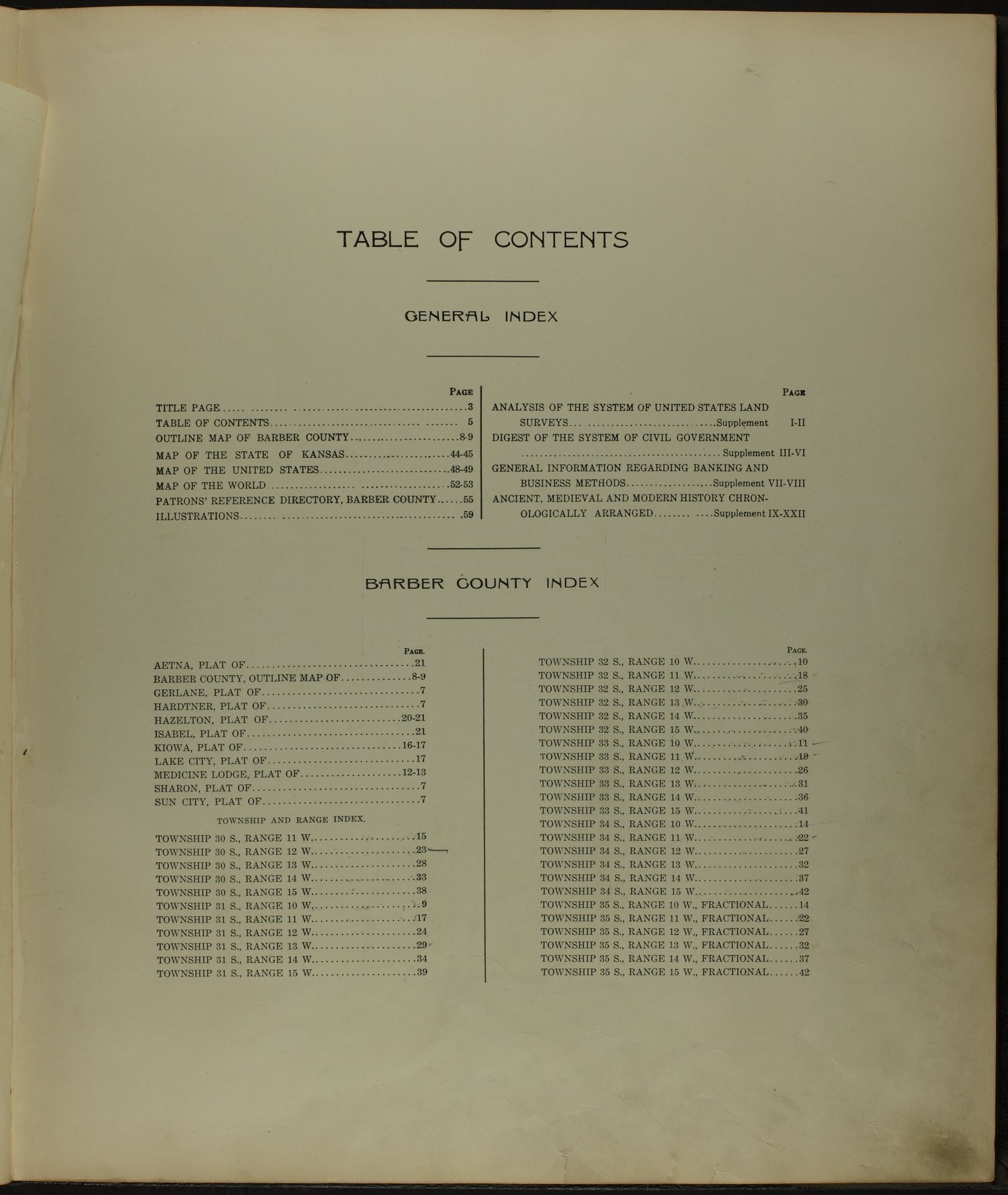 Standard atlas of Barber County, Kansas - Table of Contents