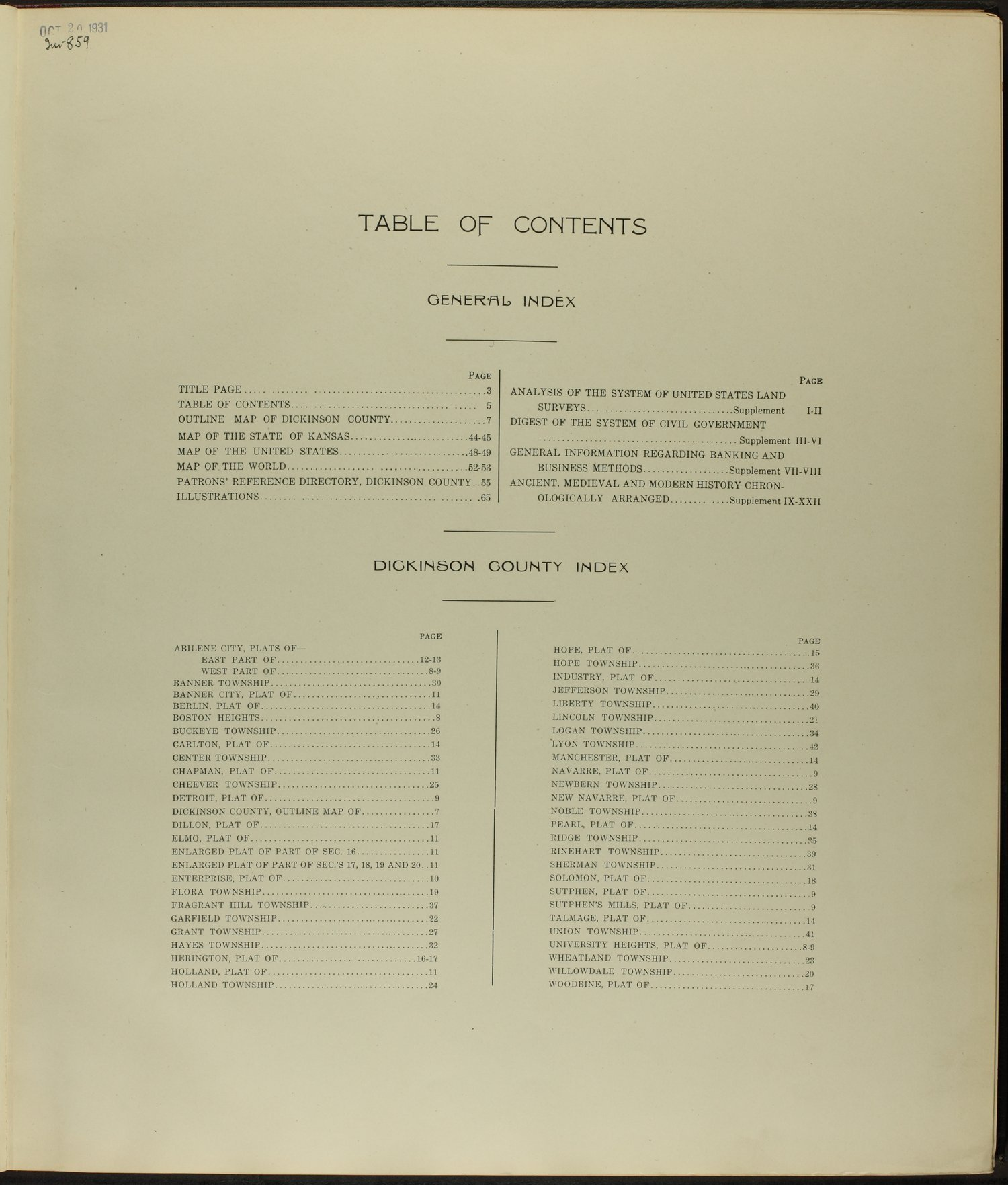 Standard atlas of Dickinson County, Kansas - Table of Contents