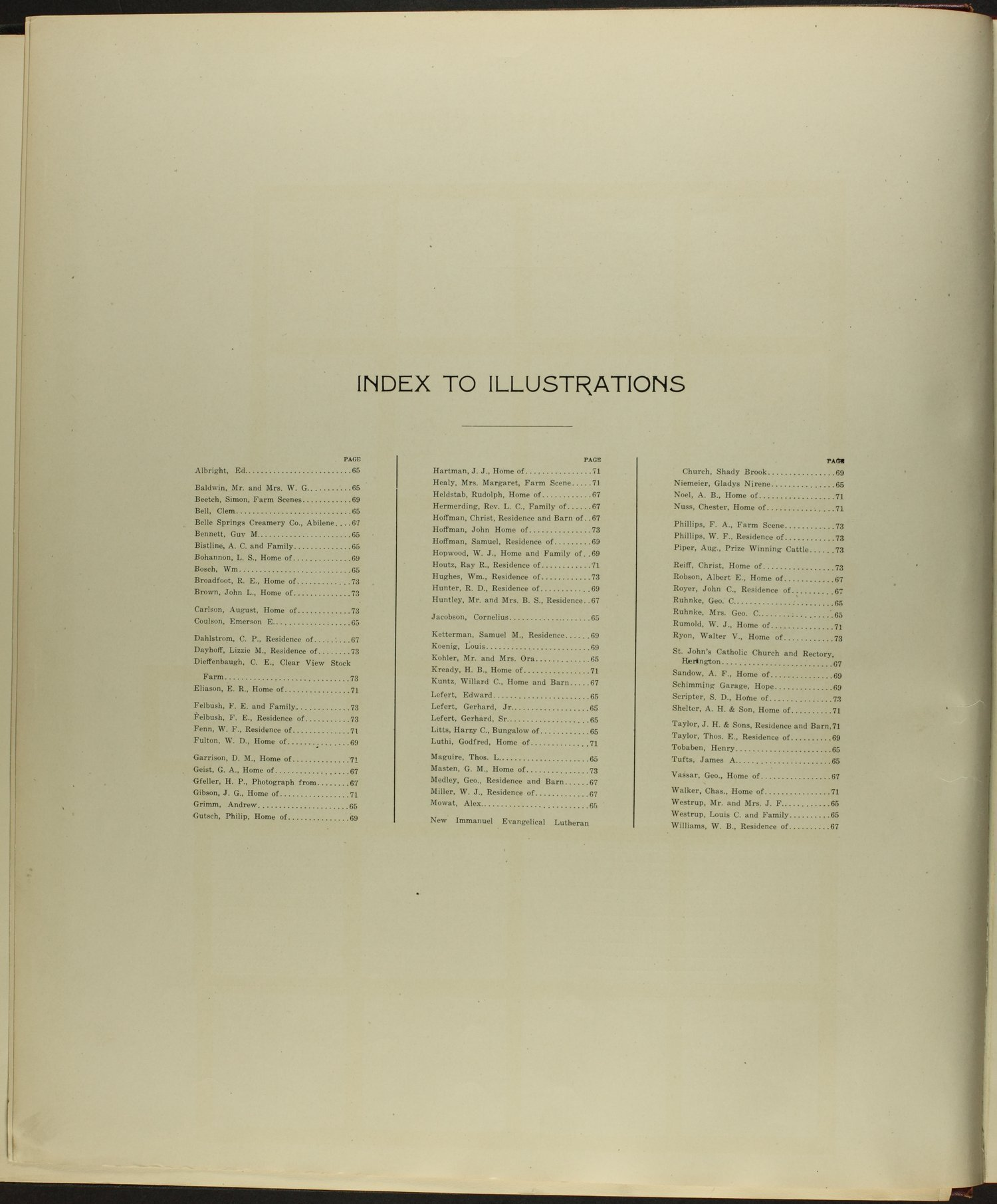 Standard atlas of Dickinson County, Kansas - Index to Illustrations