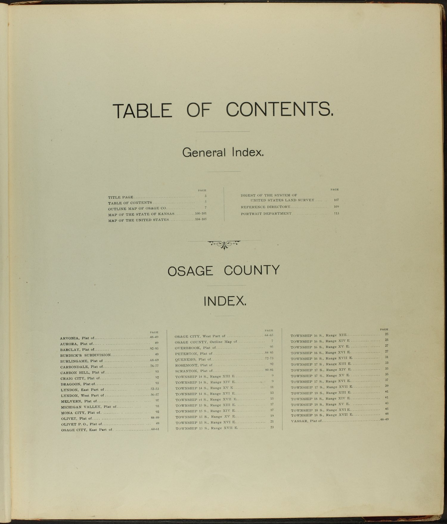 Descriptive atlas of Osage County, Kansas - Table of Contents