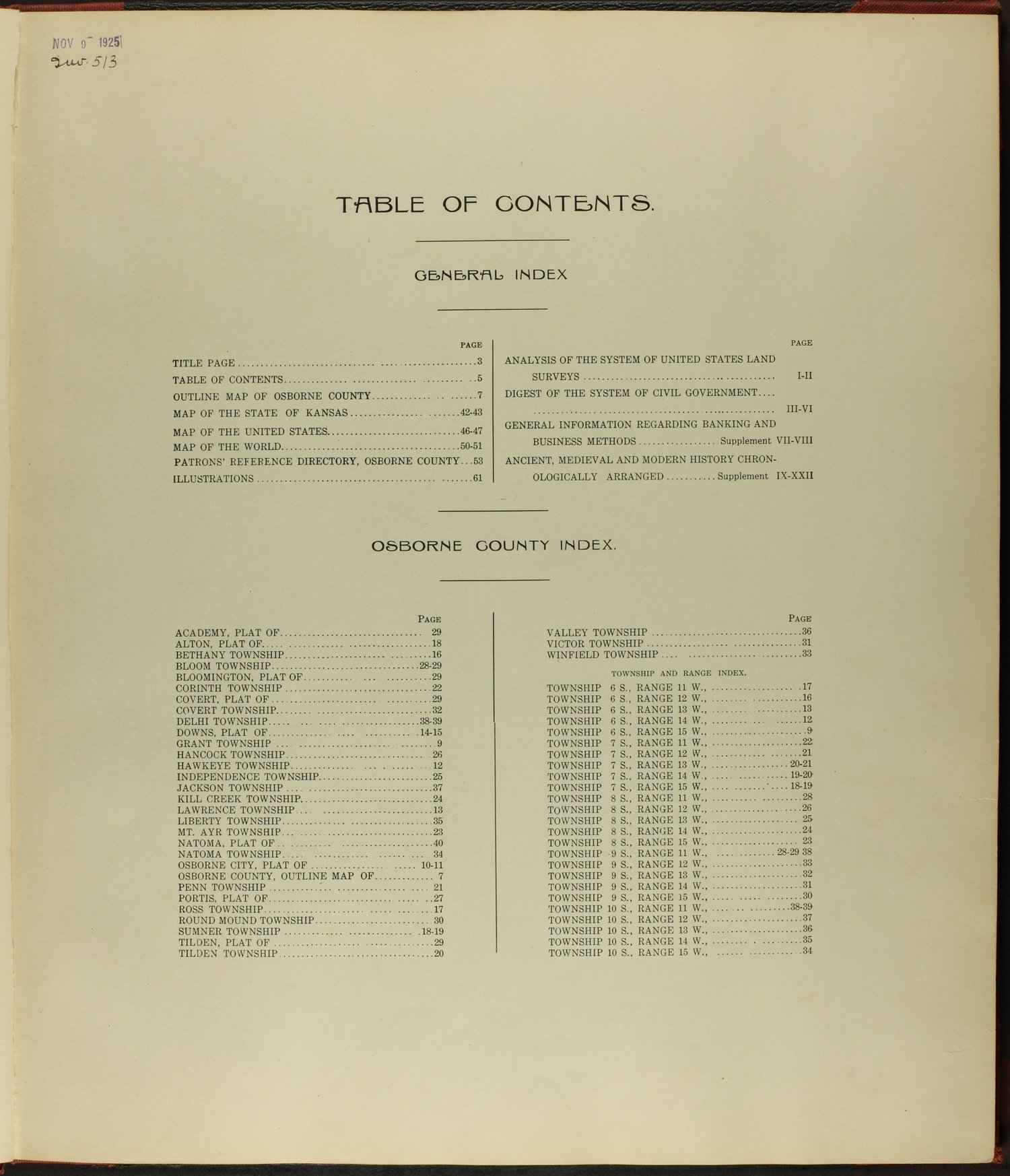 Standard atlas of Osborne County, Kansas - Table of contents