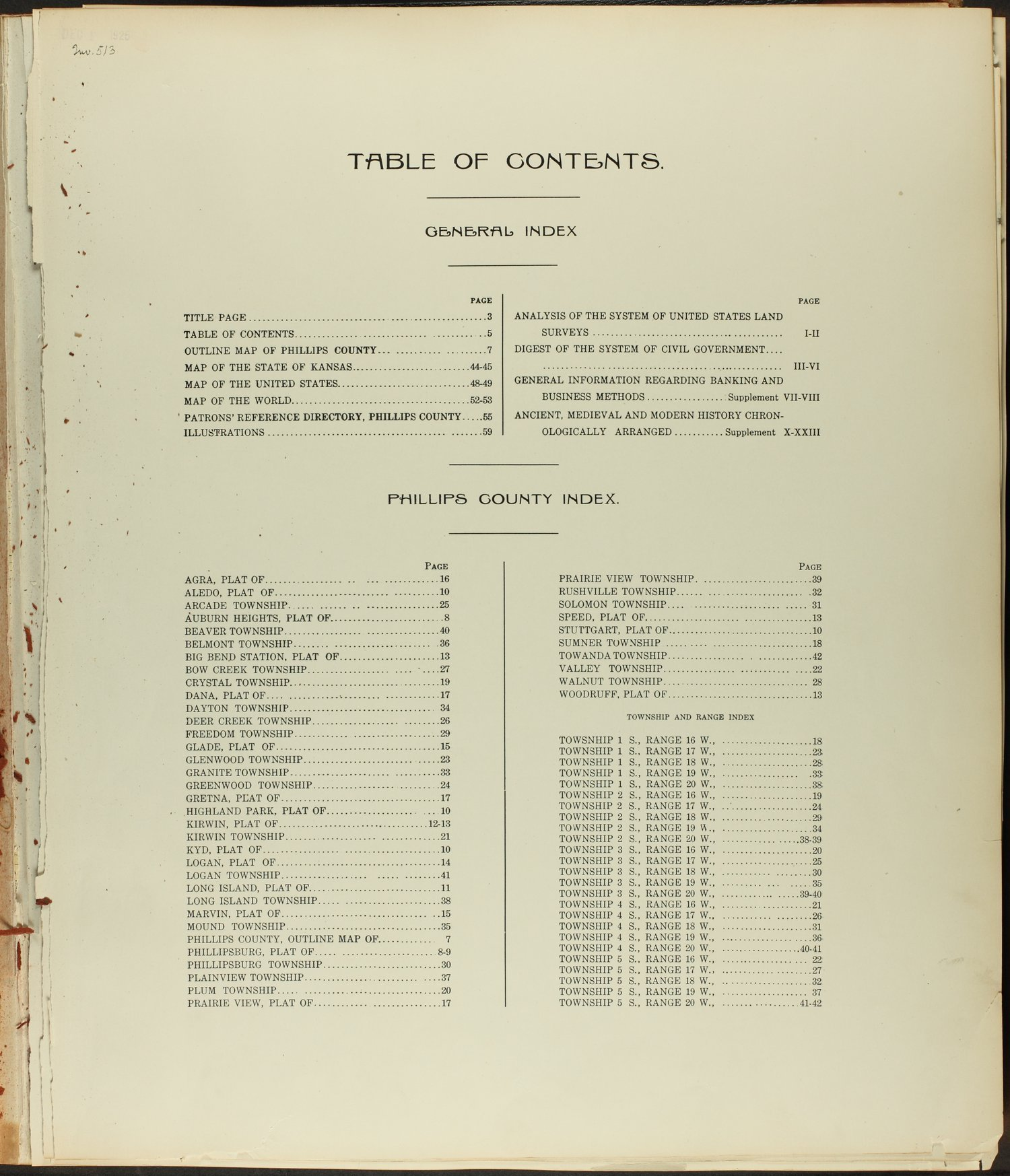 Standard atlas of Phillips County, Kansas - Table of Contents