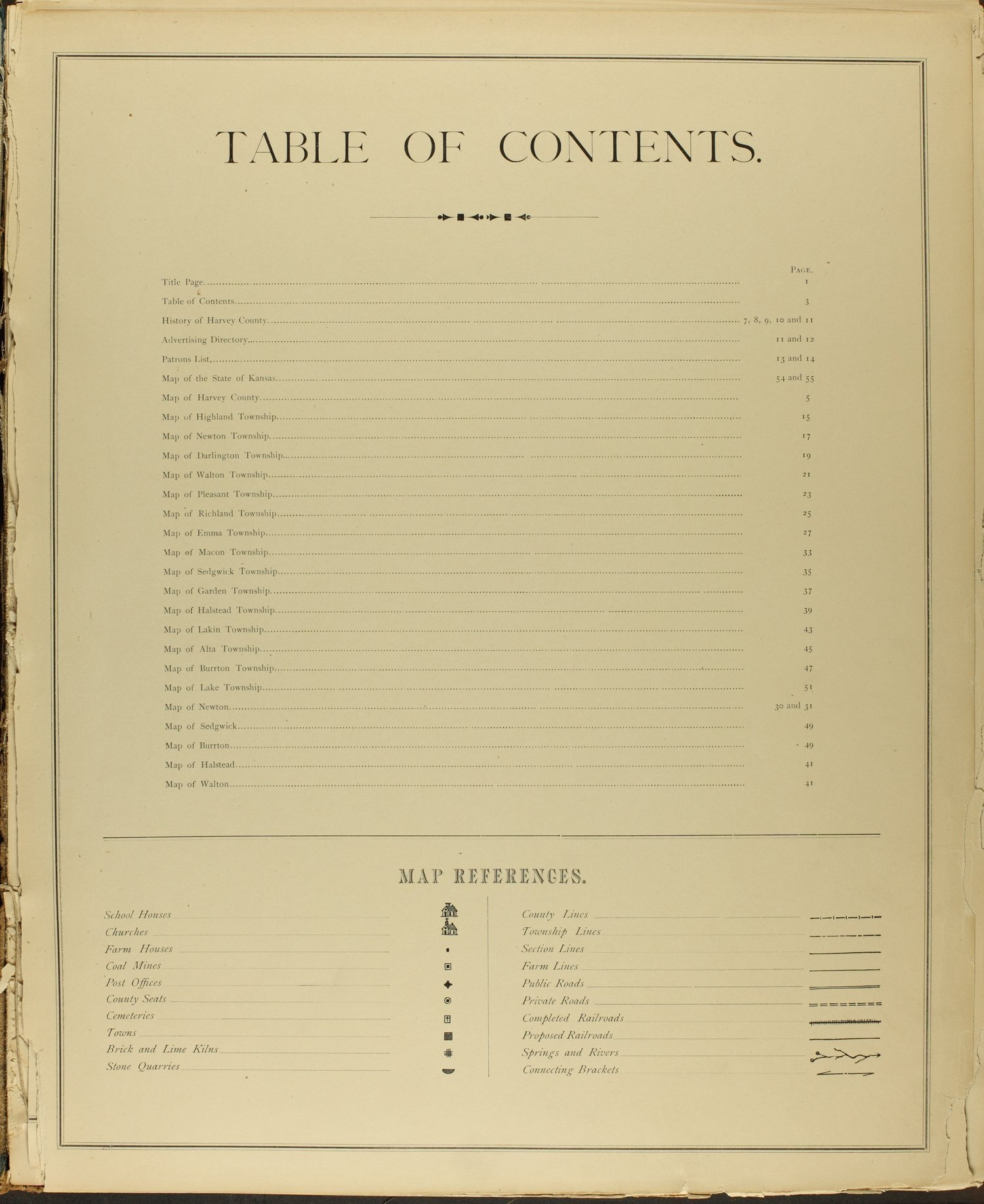 Historical atlas of Harvey County, Kansas - Table of Contents