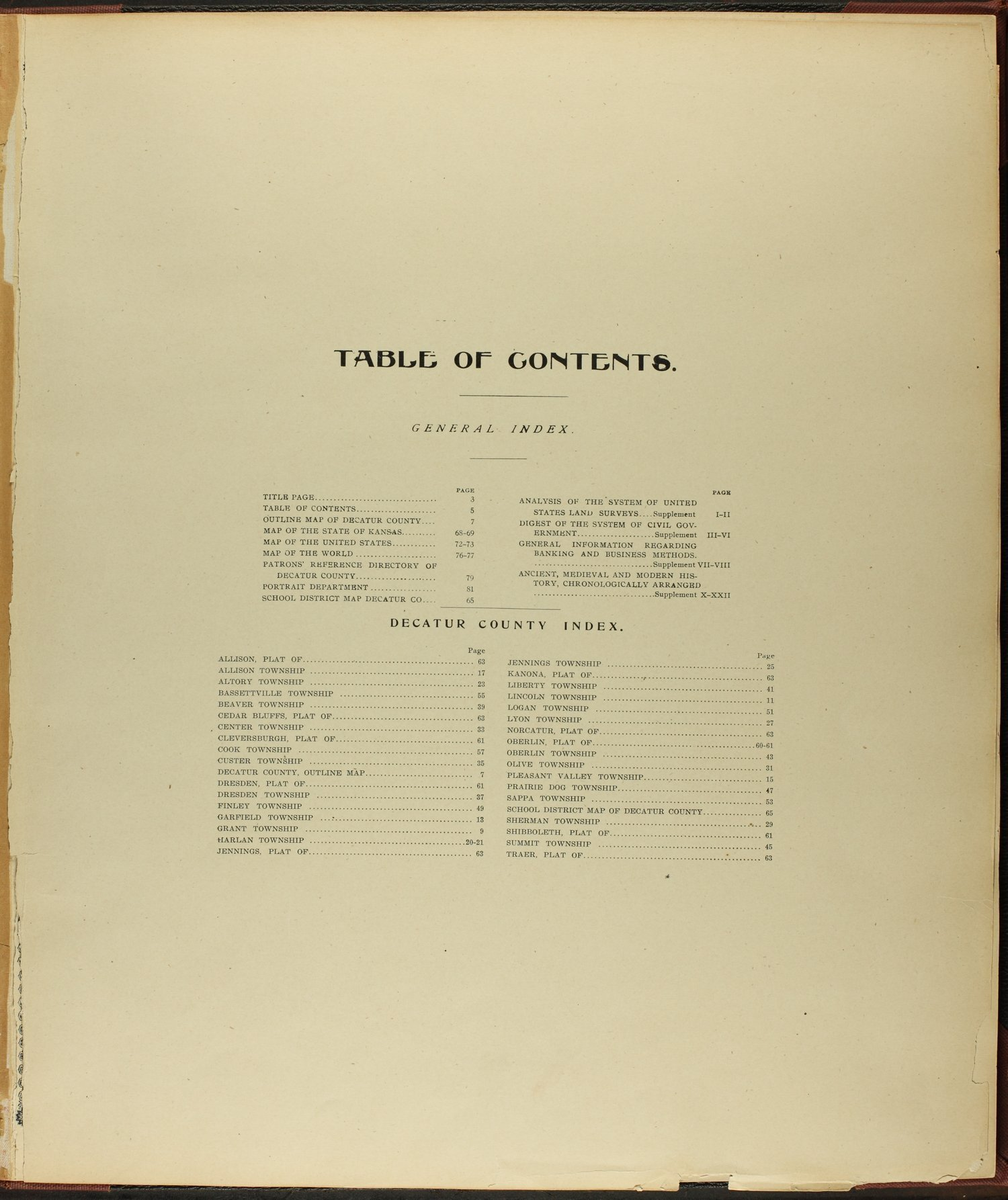 Standard atlas of Decatur County, Kansas - Table of Contents