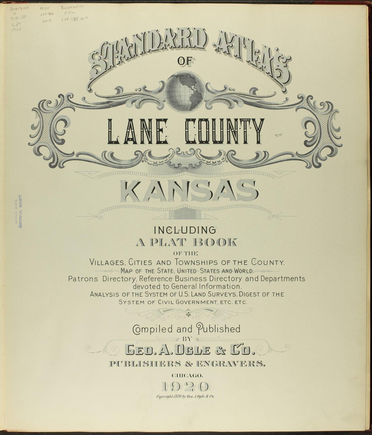 Standard atlas of Lane county, Kansas - Title Page