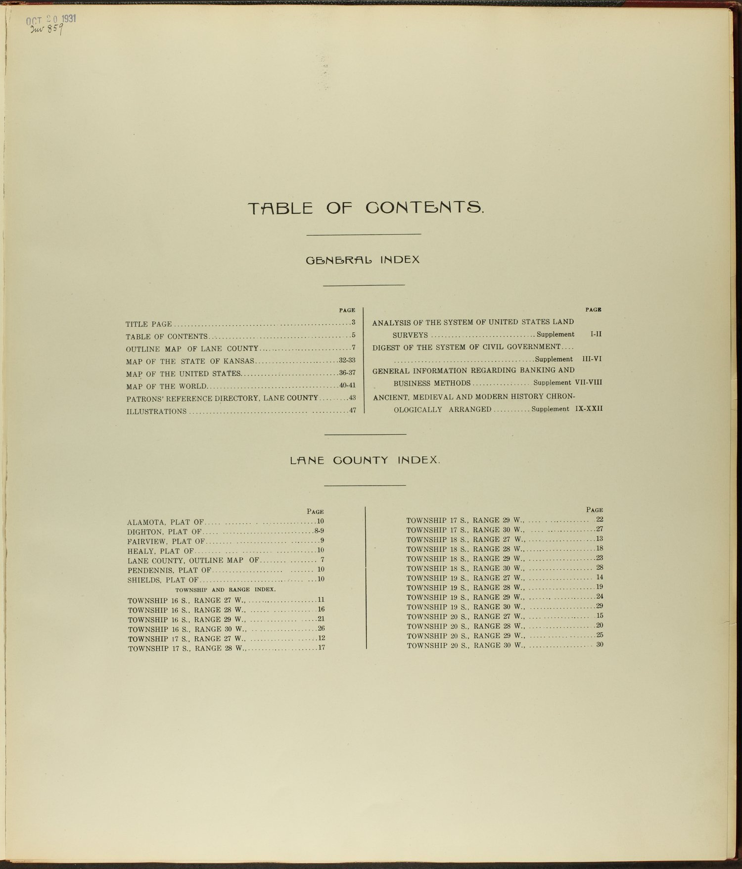 Standard atlas of Lane county, Kansas - Table of Contents