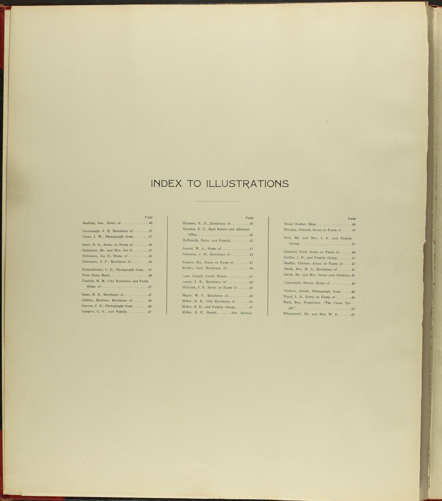 Standard atlas of Lane county, Kansas - Index to Illustrations