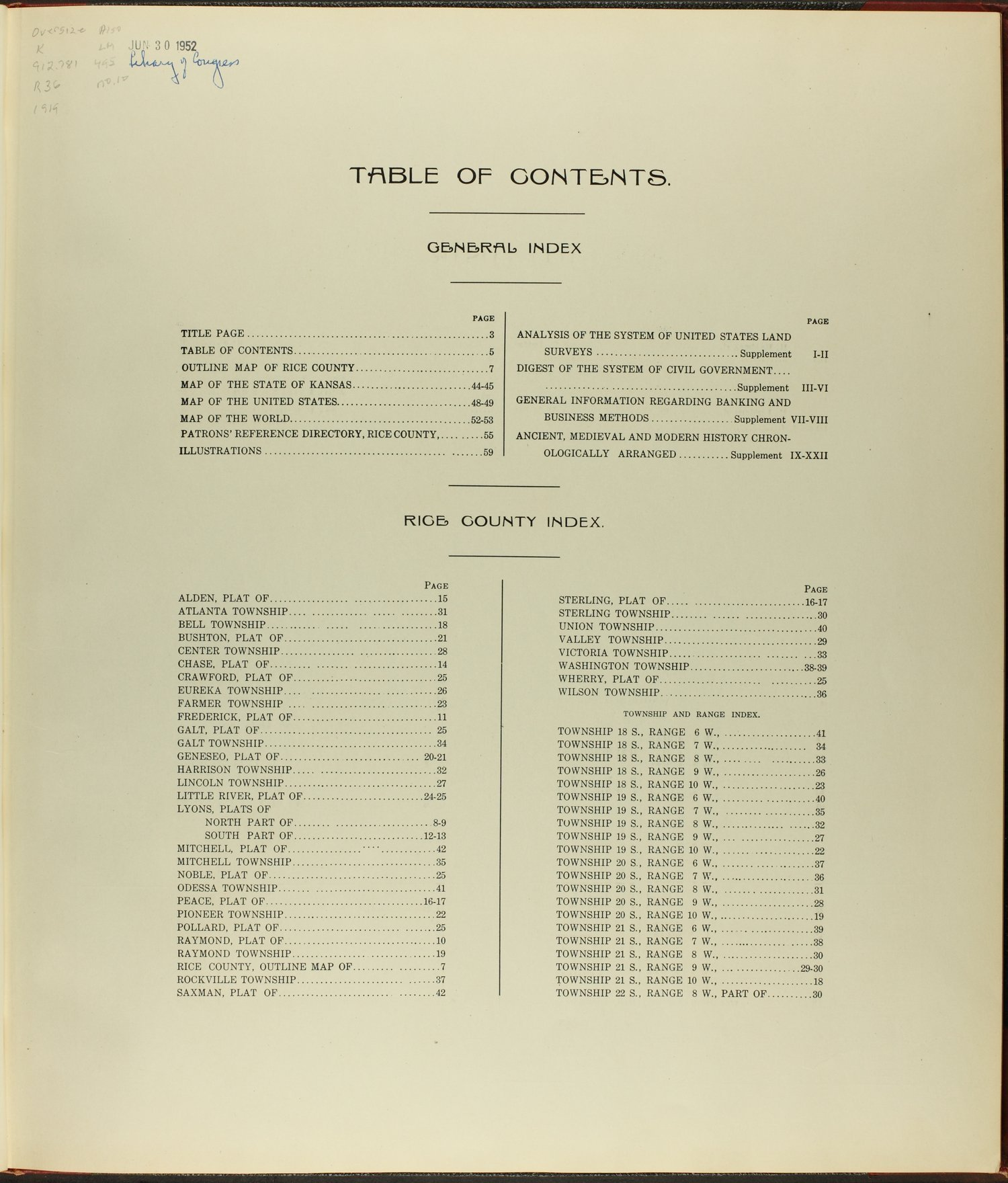 Standard atlas of Rice County, Kansas - Table of Contents