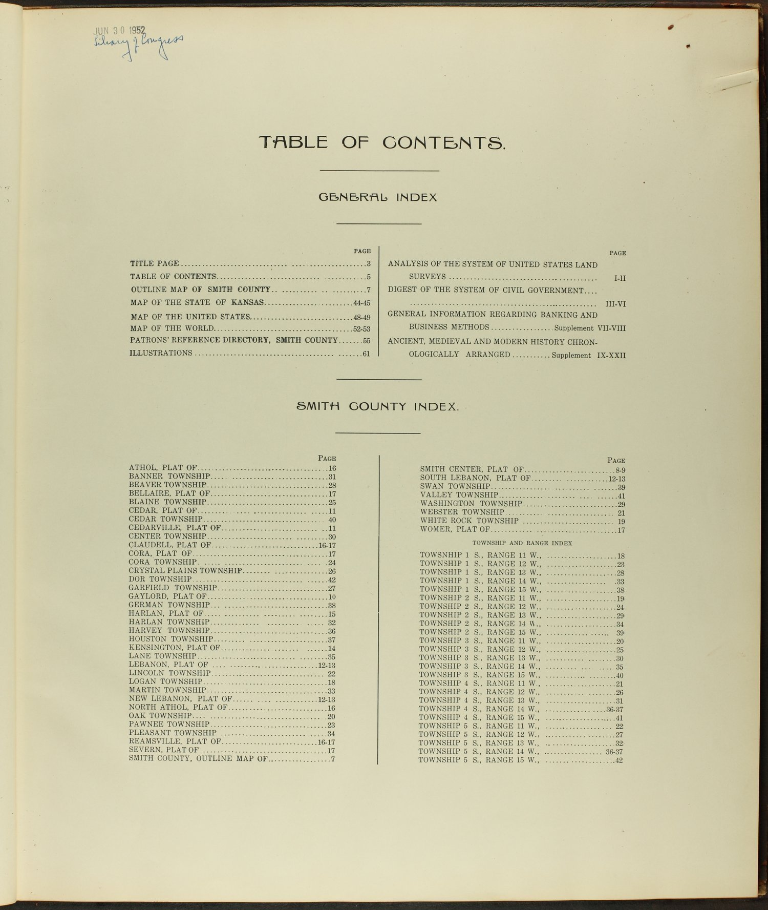 Standard atlas of Smith County, Kansas - Table of Contents
