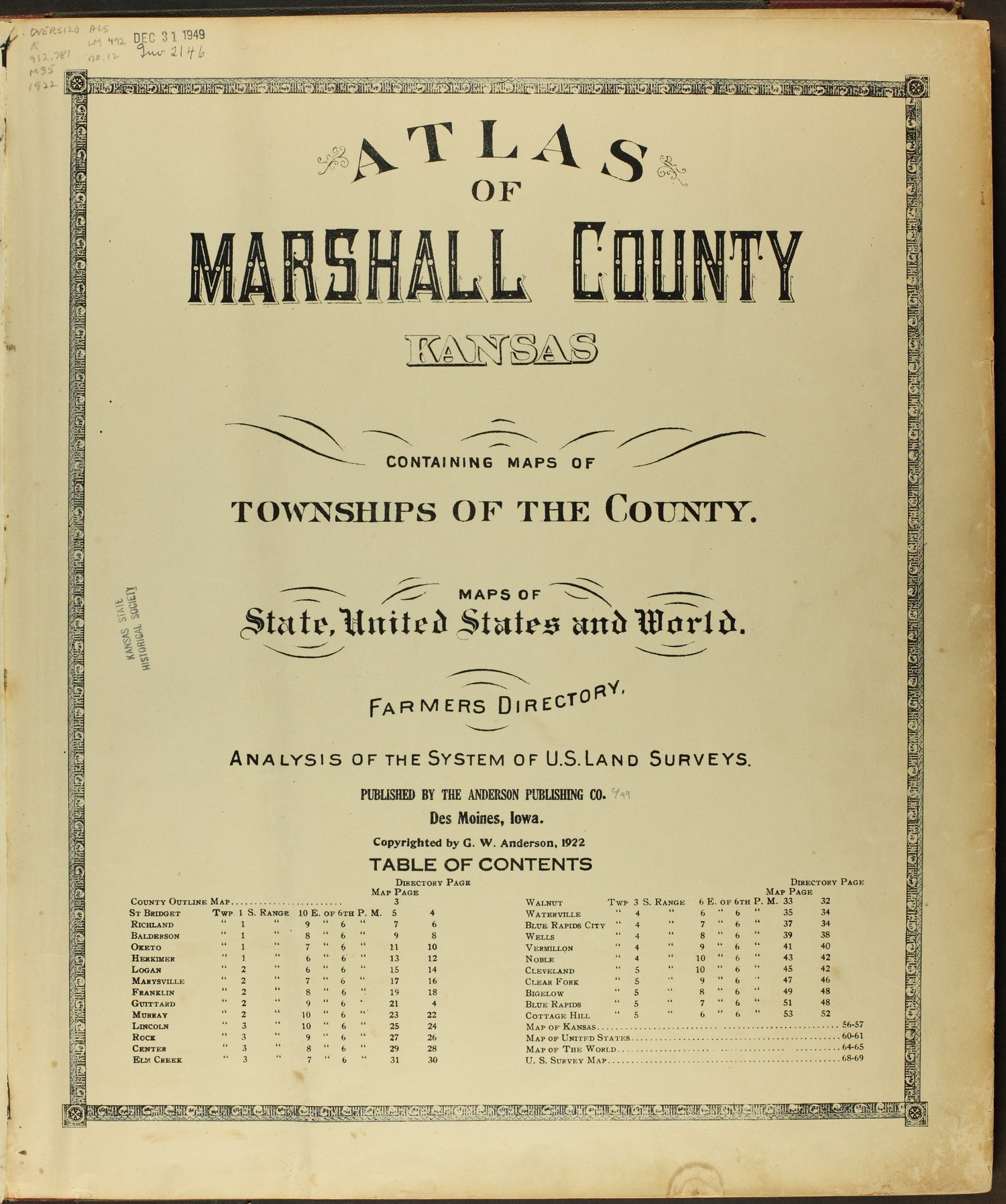 Atlas of Marshall County, Kansas - Title Page