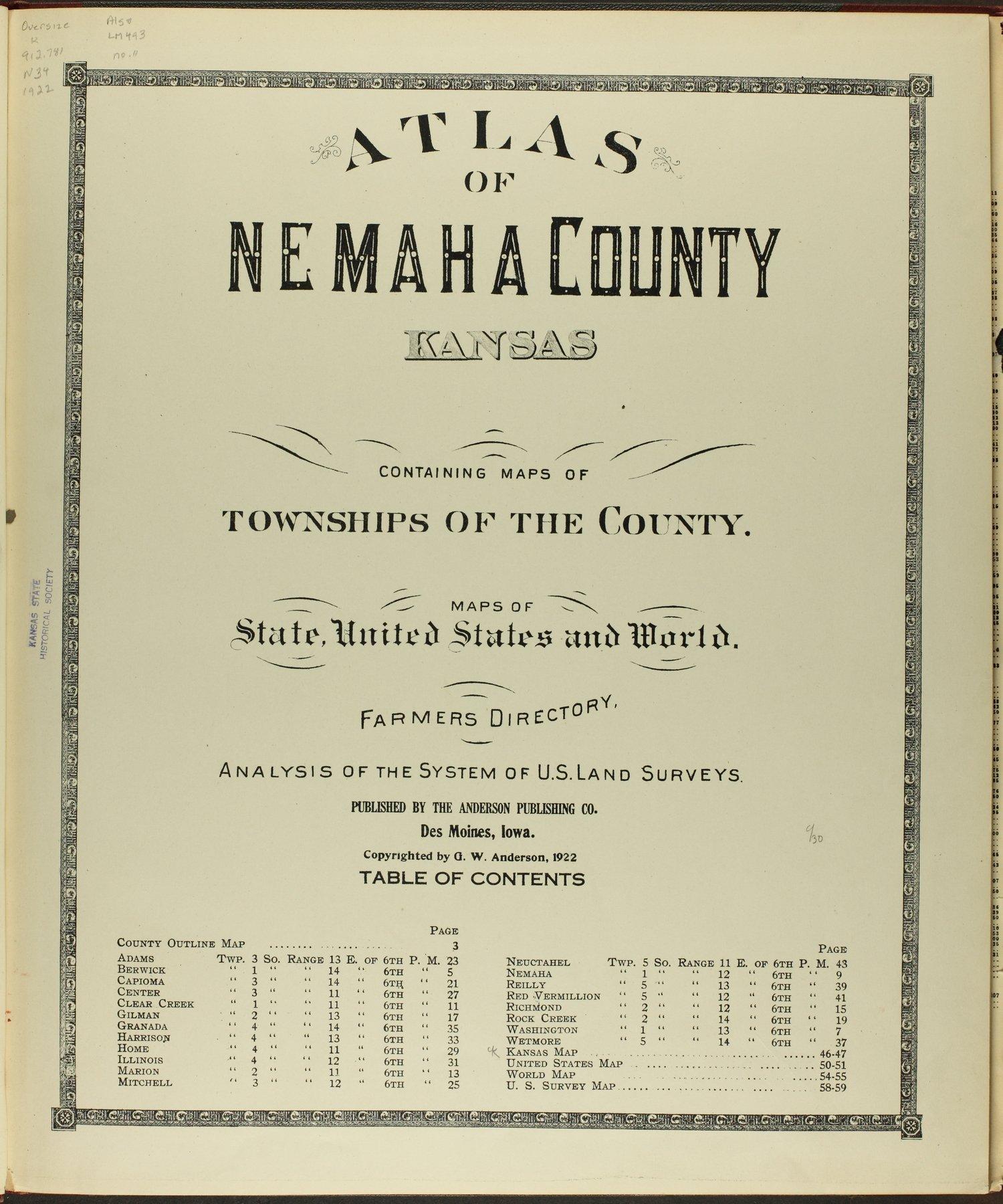 Atlas of Nemaha County, Kansas - Title Page
