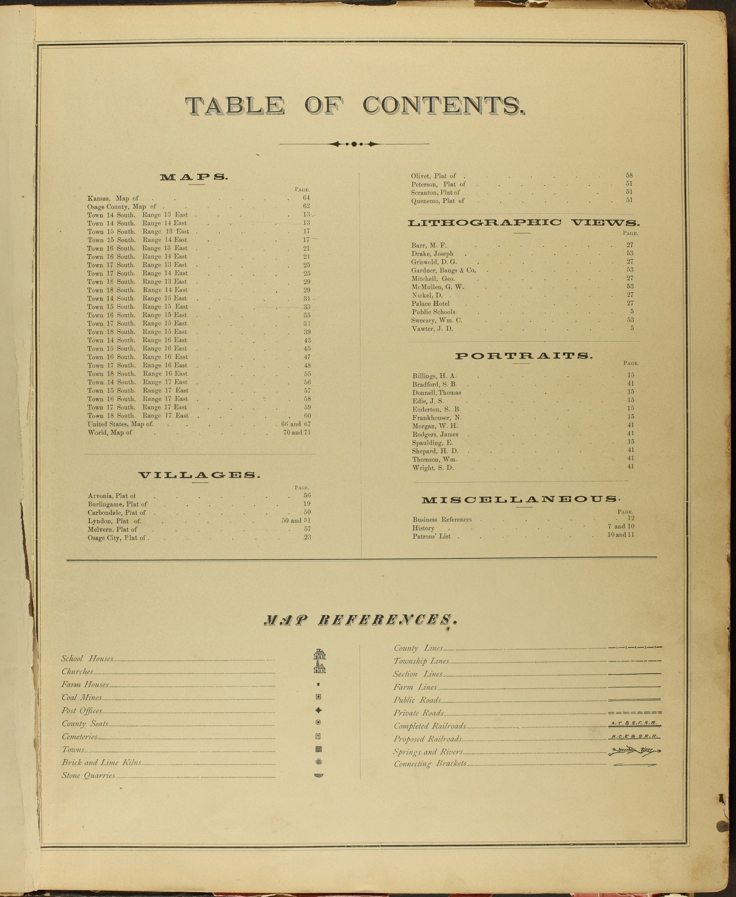 An illustrated historical atlas of Osage County, Kansas - Table of Contents