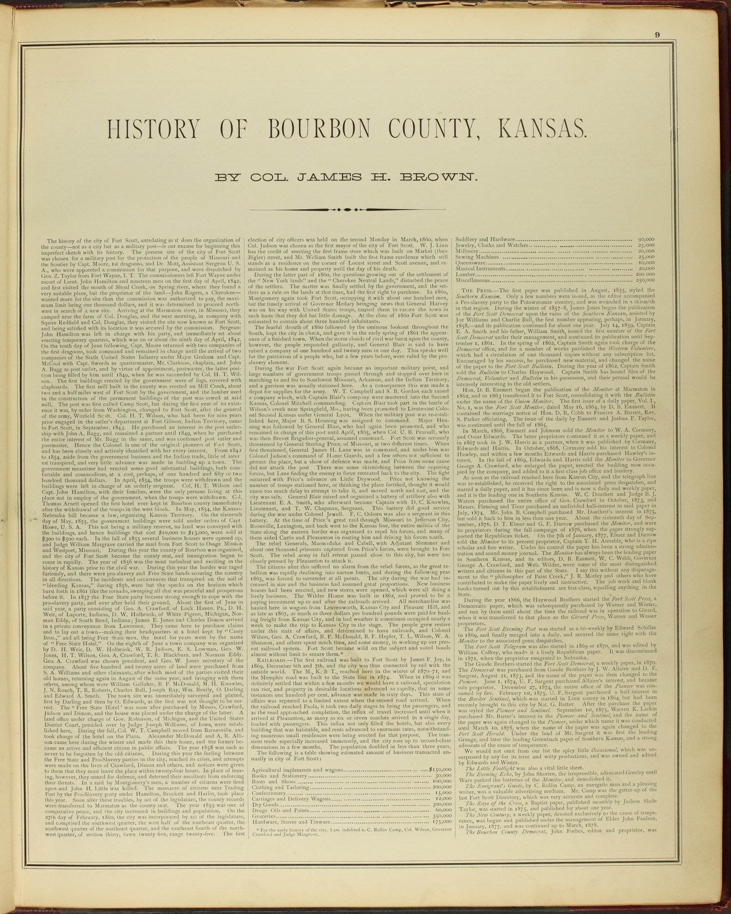 An illustrated historical atlas of Bourbon County, Kansas - 9