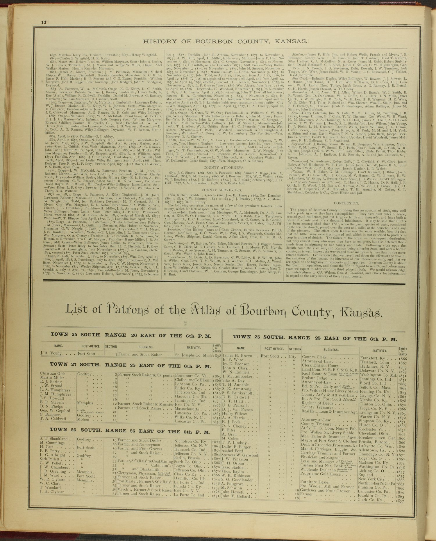 An illustrated historical atlas of Bourbon County, Kansas - 12