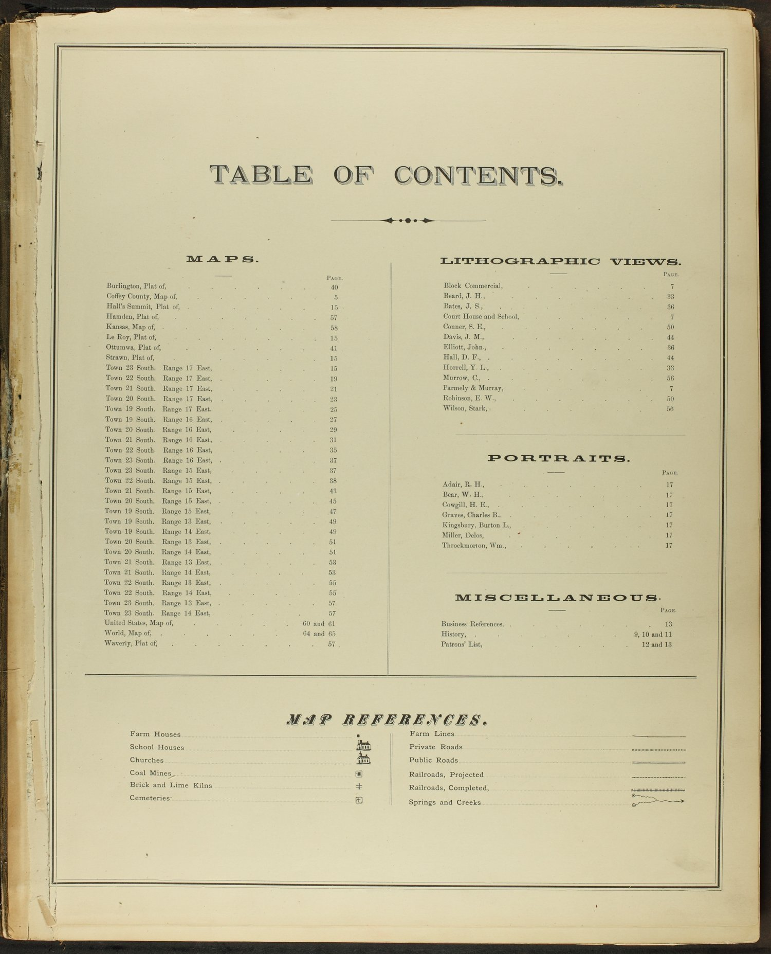 An illustrated historical atlas of Coffey County, Kansas - Table of Contents