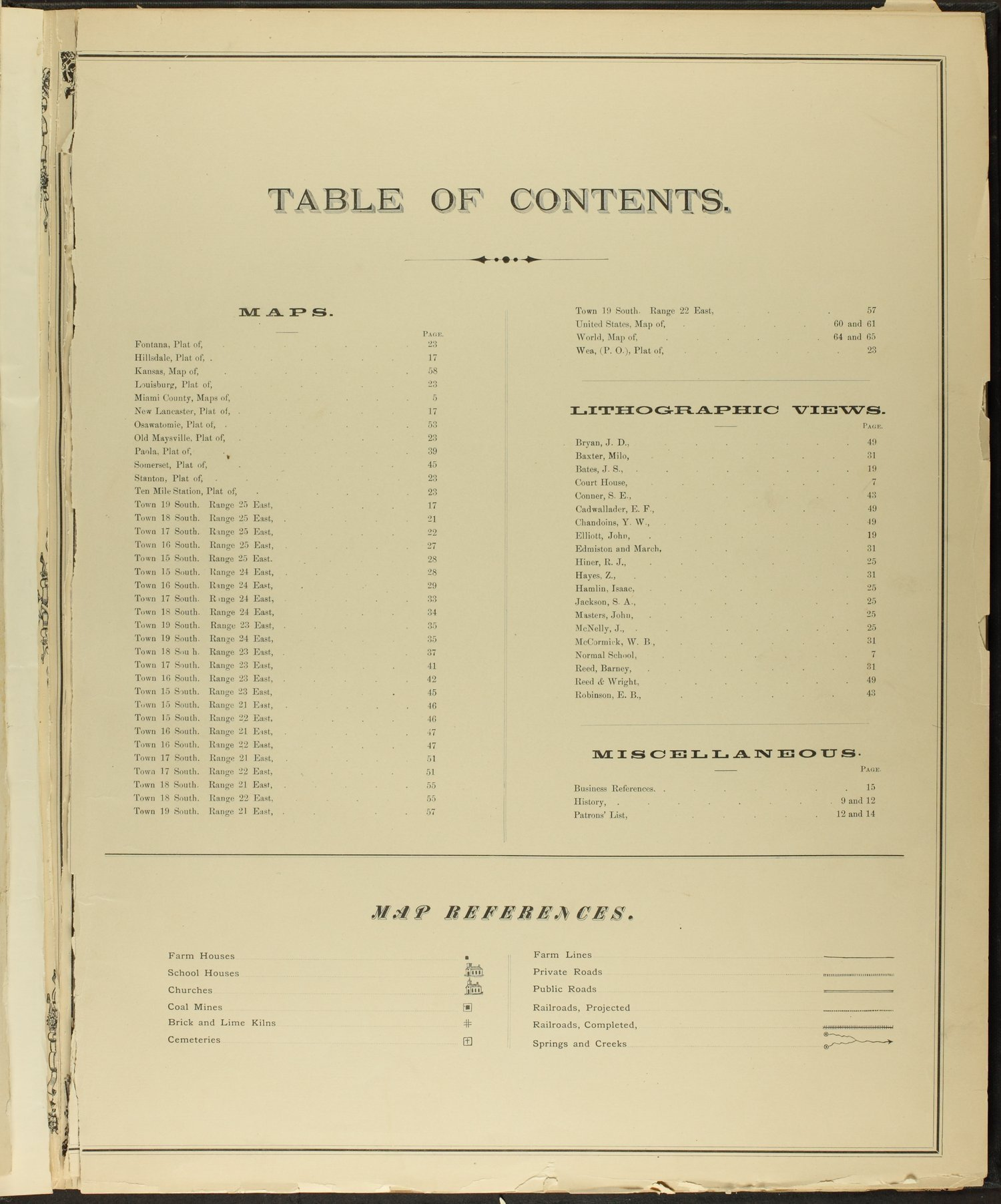 An illustrated historical atlas of Miami County, Kansas - Table of Contents