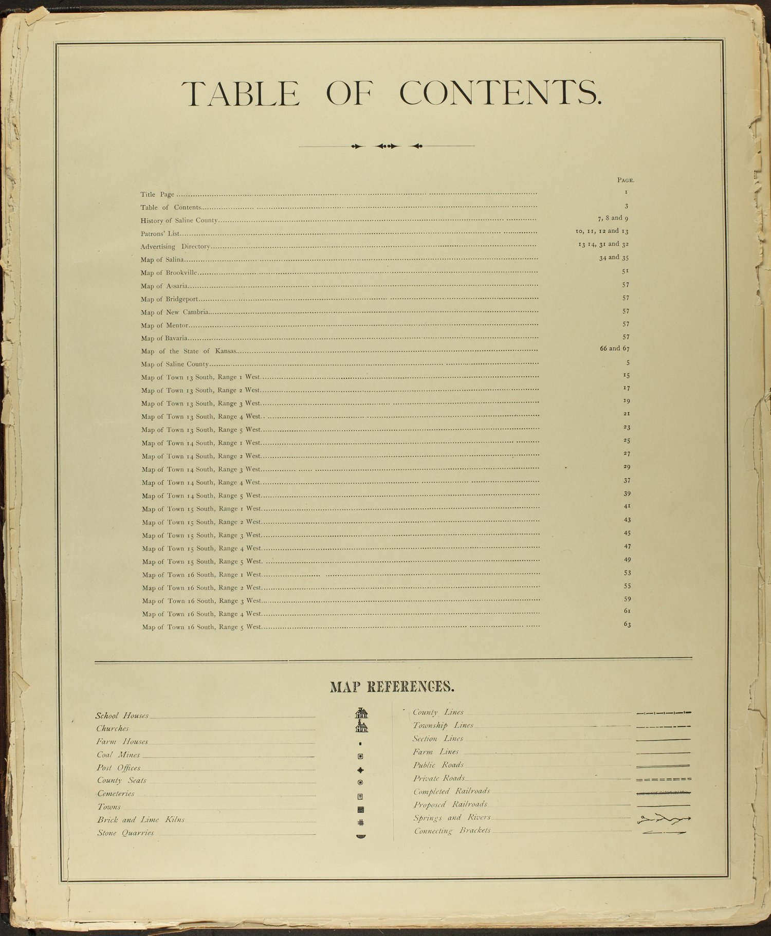 Edwards' Atlas of Saline Co., Kansas - Table of Contents